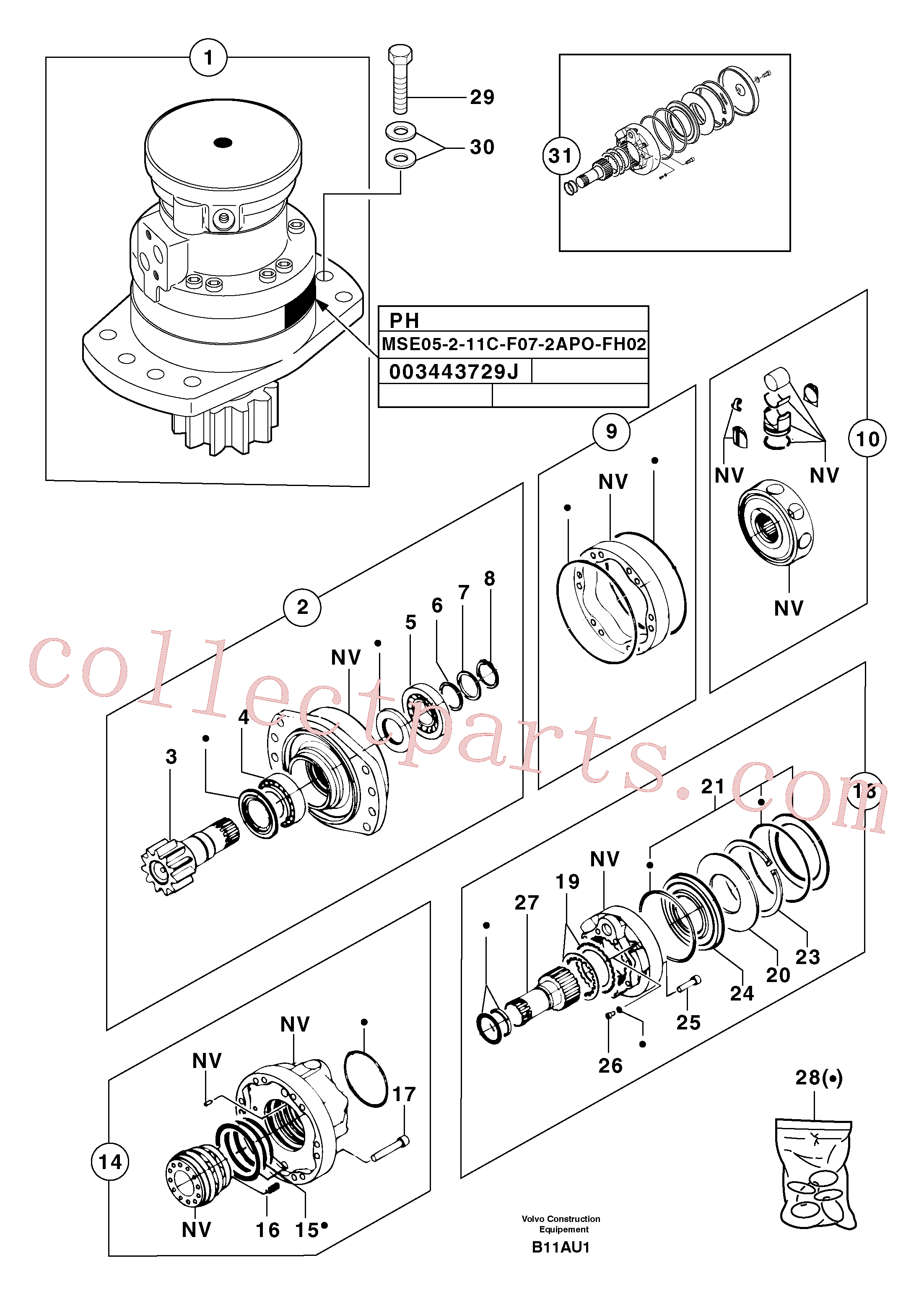 PJ7416976 for Volvo Slewing gear motor(B11AU1 assembly)