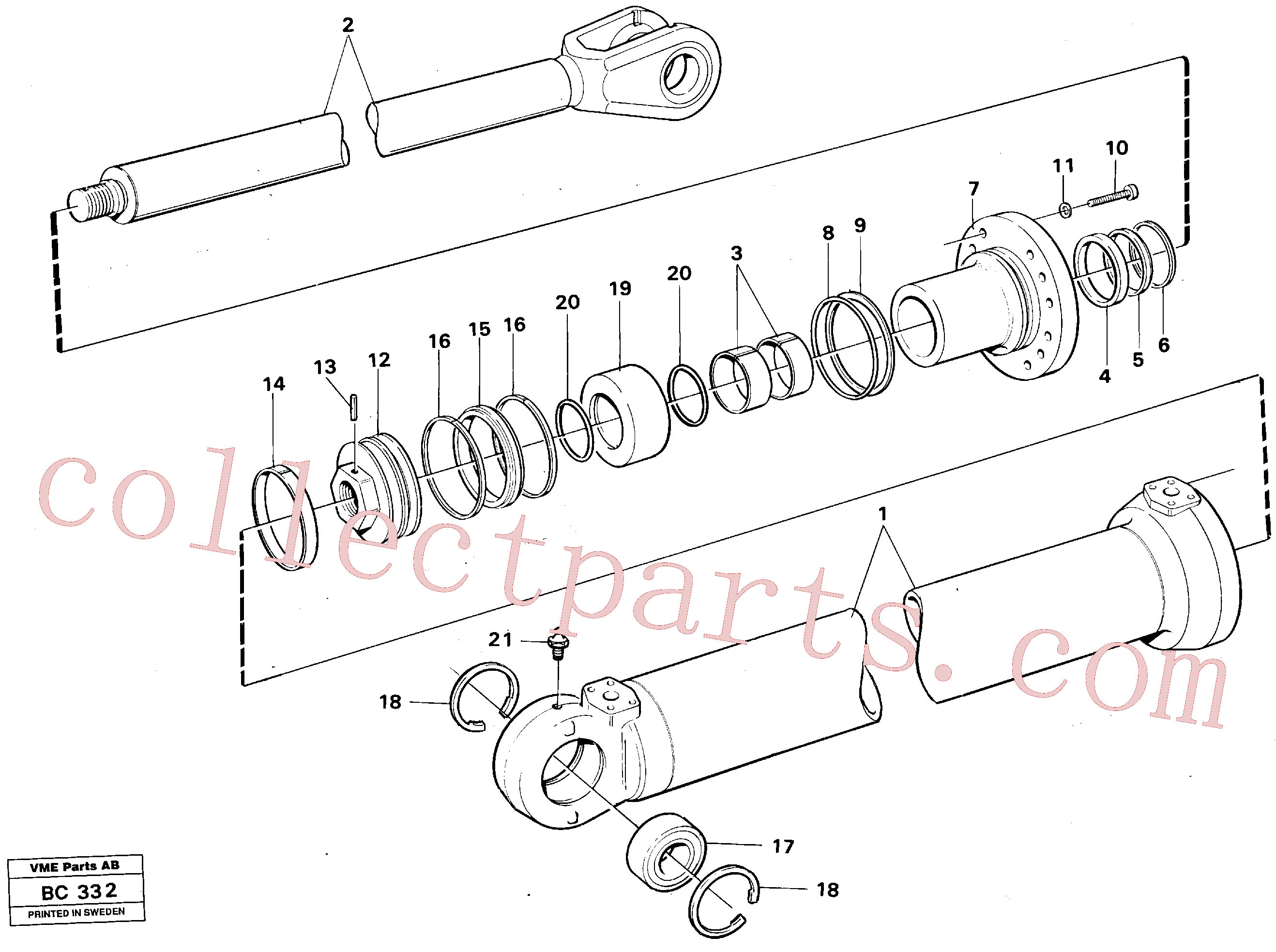 VOE184712 for Volvo Tipping cylinder 4 x 4(BC332 assembly)