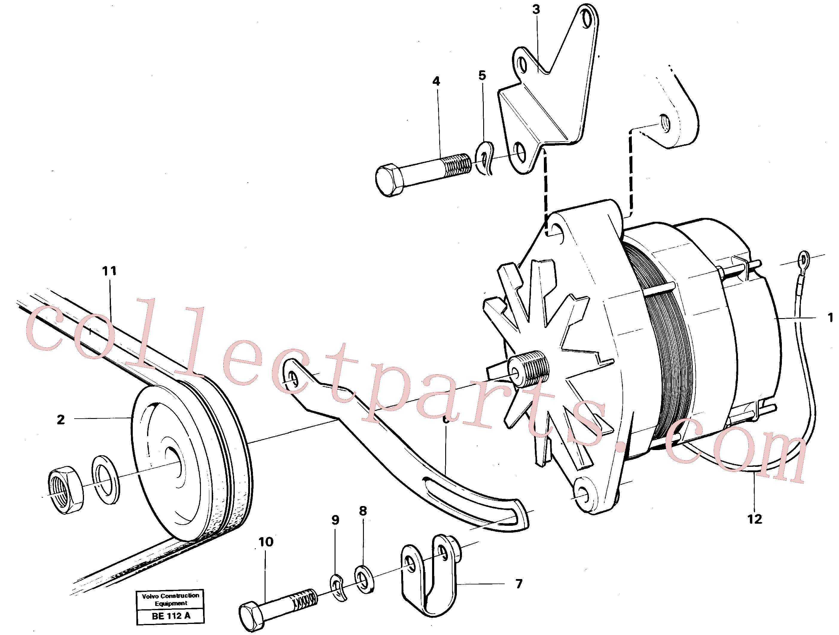 VOE466735 for Volvo Alternator with assembling details(BE112A assembly)
