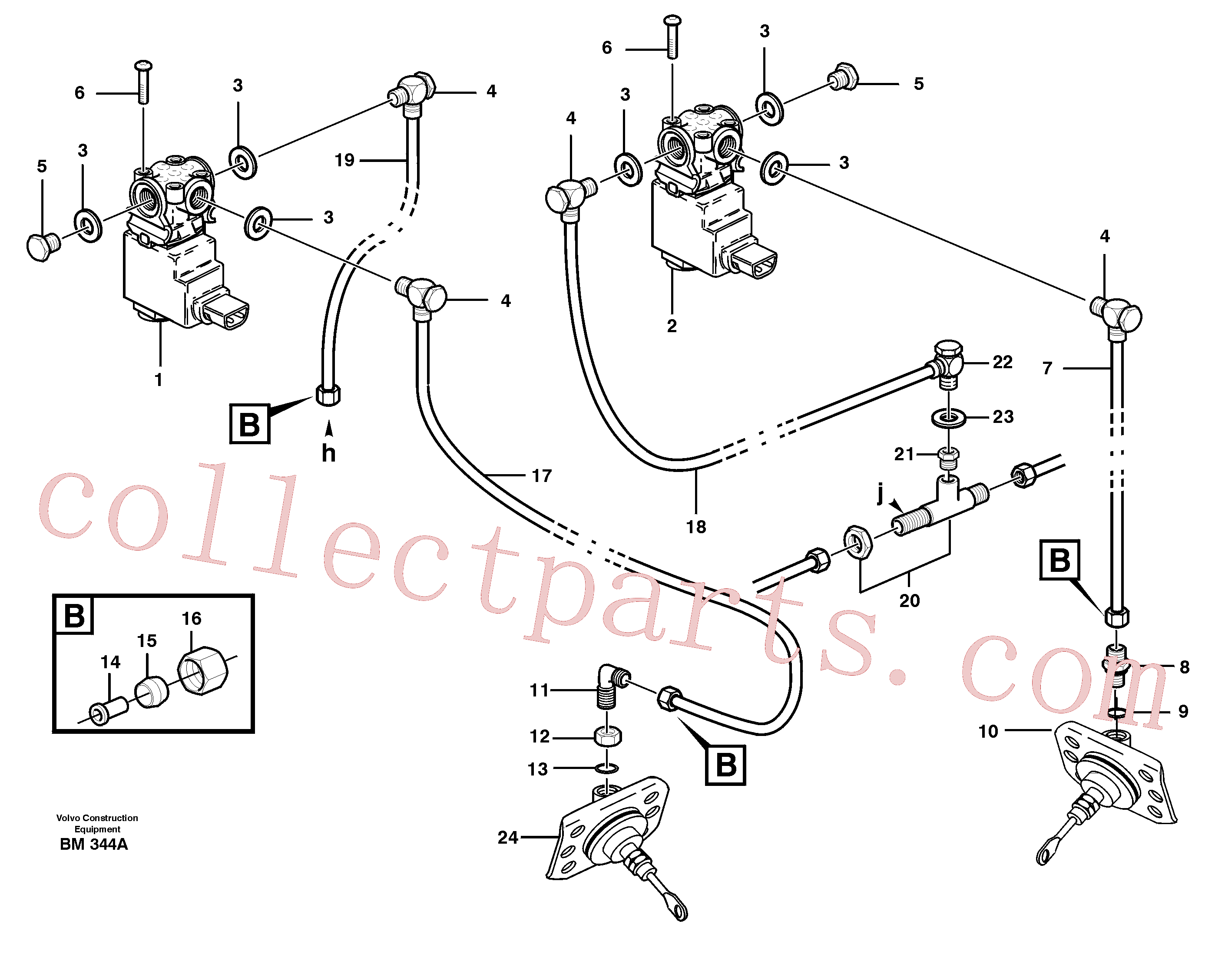 VOE945901 for Volvo Pneumatic system, diff lock, cab(BM344A assembly)