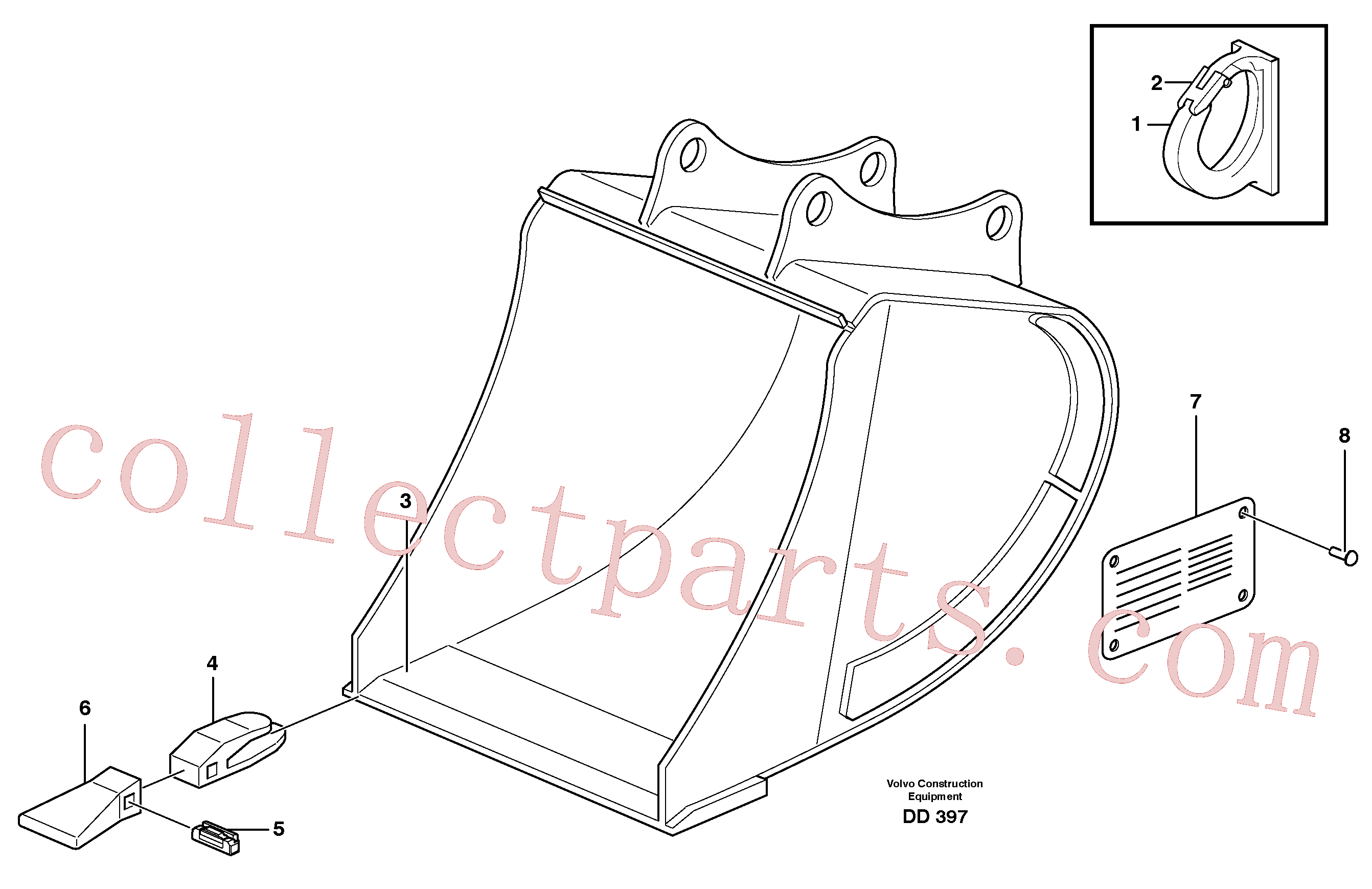 VOE14322903 for Volvo Buckets, direct fitting, Esco Super V(DD397 assembly)