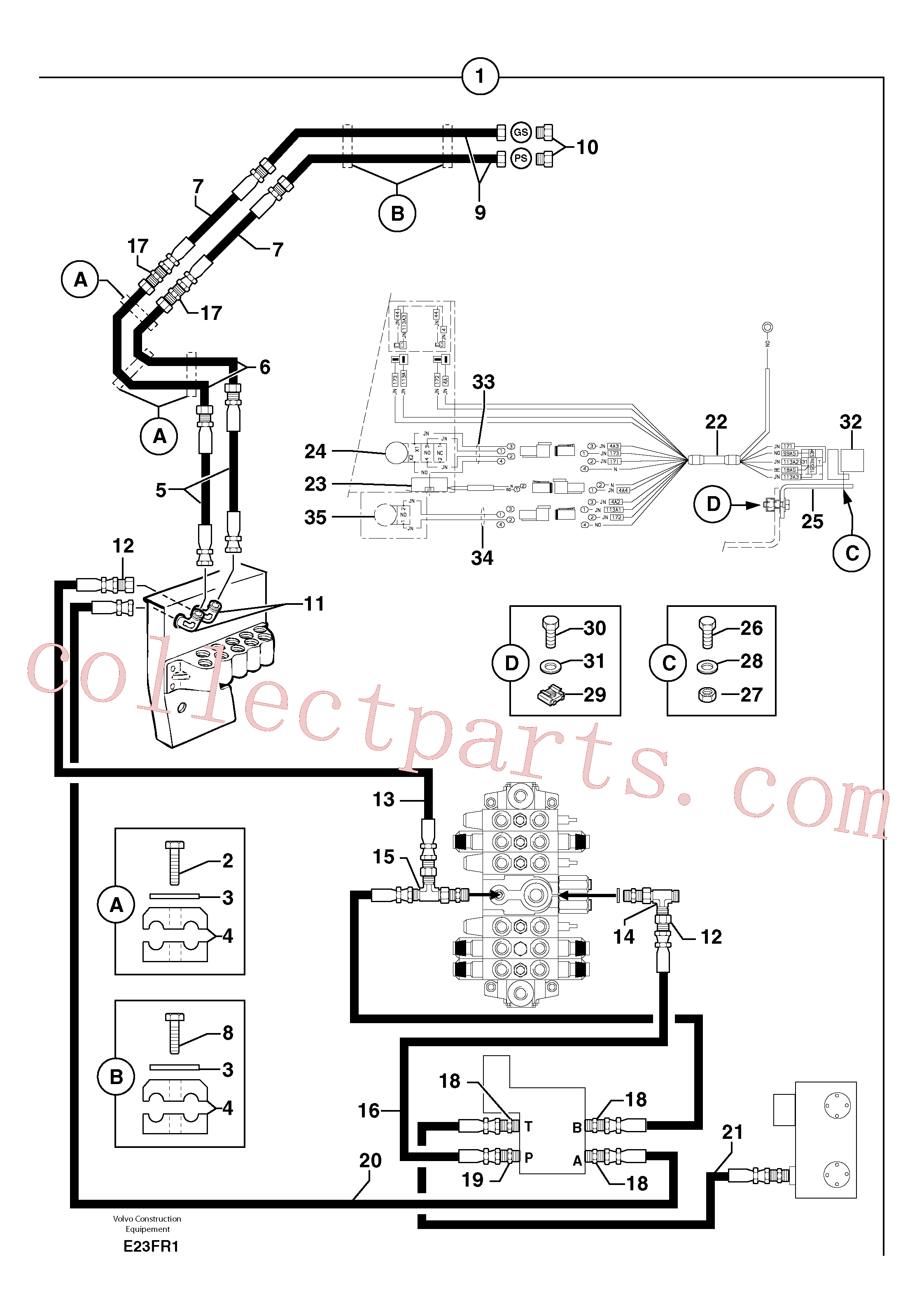 PJ5910195 for Volvo Hyd. circuit (quickfit/double-acting)(E23FR1 assembly)