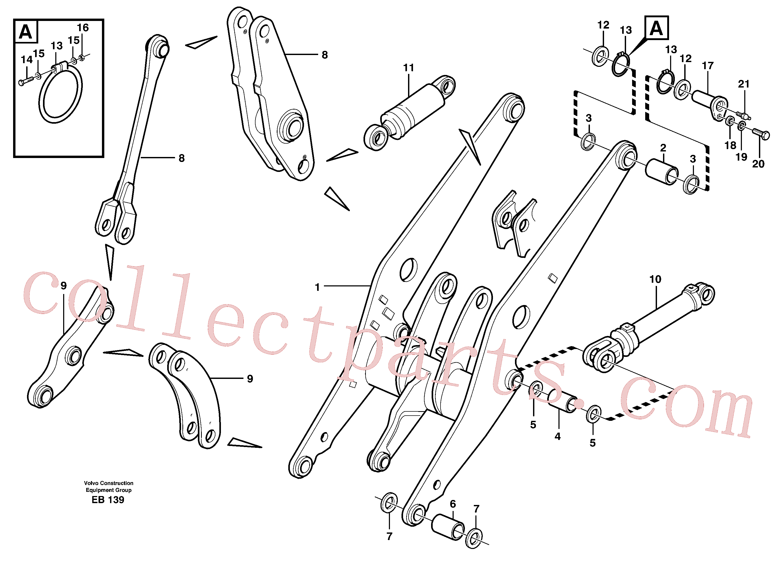 VOE11018444 for Volvo Lifting framework with assembly parts(EB139 assembly)