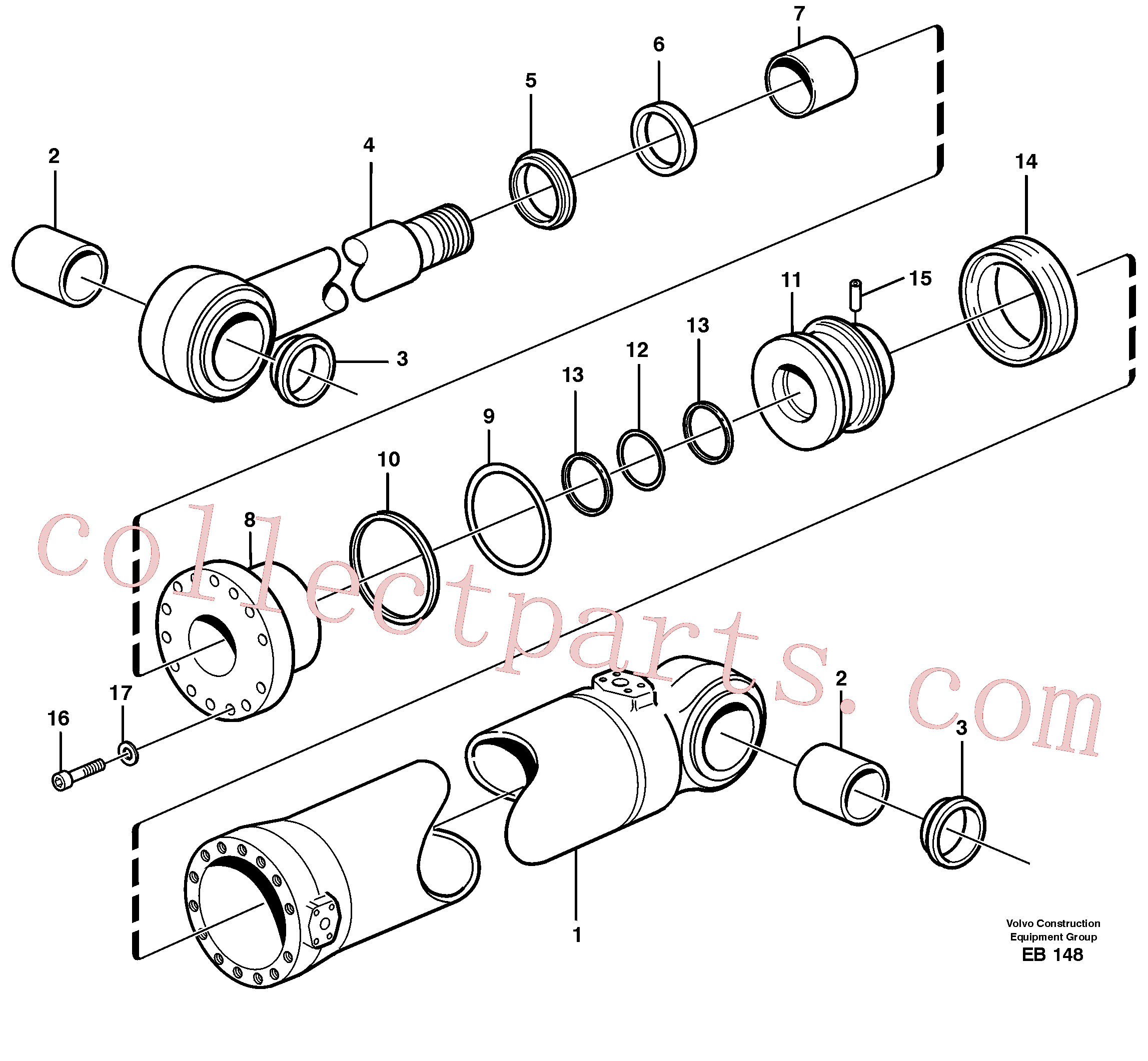 VOE960178 for Volvo Hydraulic cylinder, tilting(EB148 assembly)