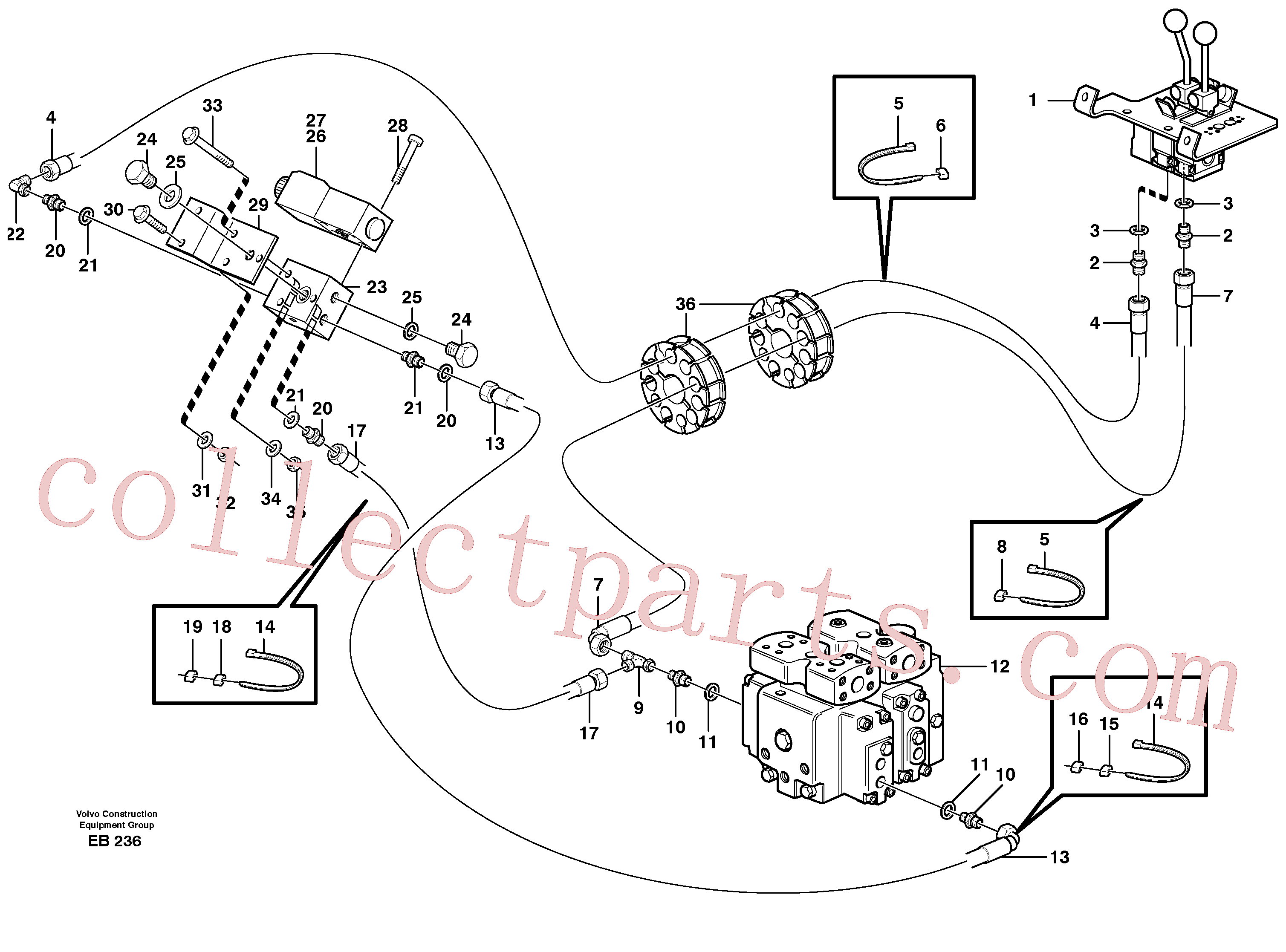 VOE944525 for Volvo Servo - hydraulic, control lines, lift(EB236 assembly)