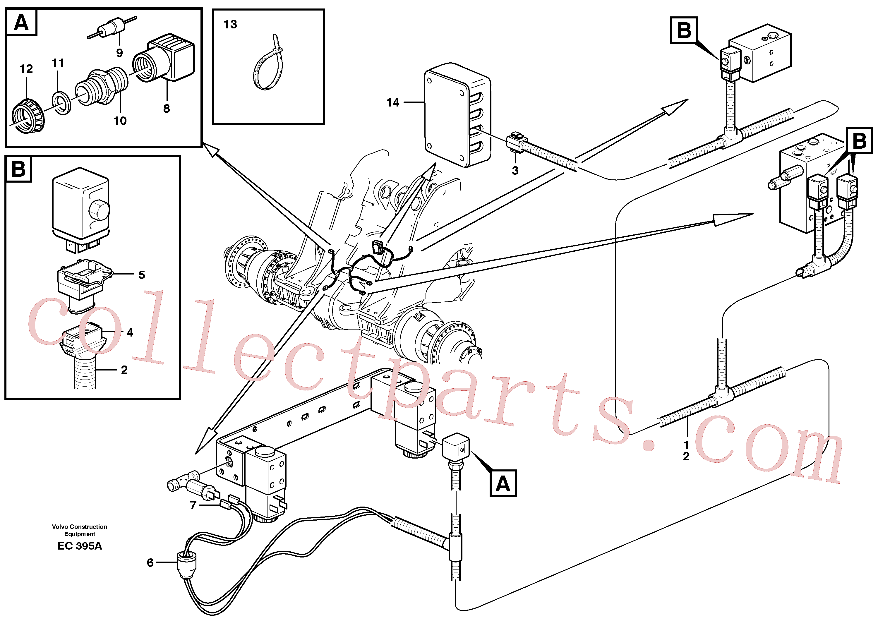 VOE6646637 for Volvo Cable harness, boom suspension system.(EC395A assembly)