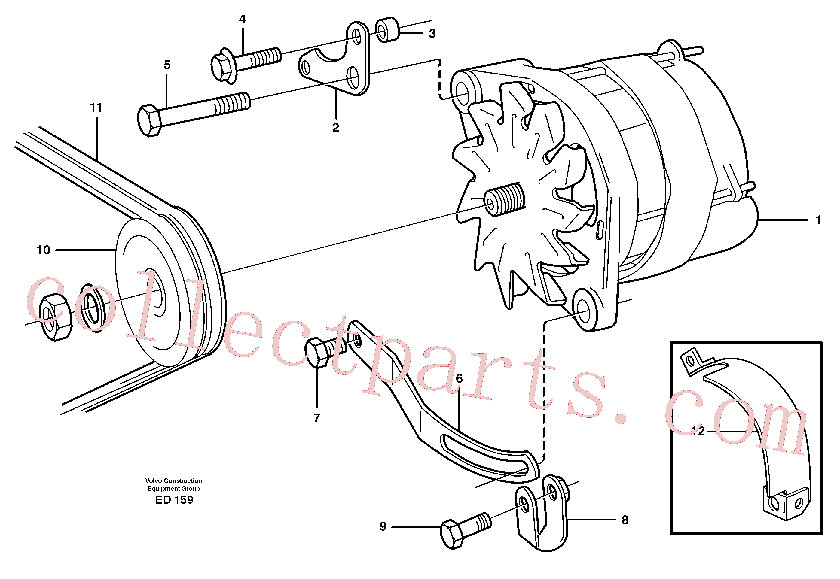 VOE466735 for Volvo Alternator with assembling details(ED159 assembly)