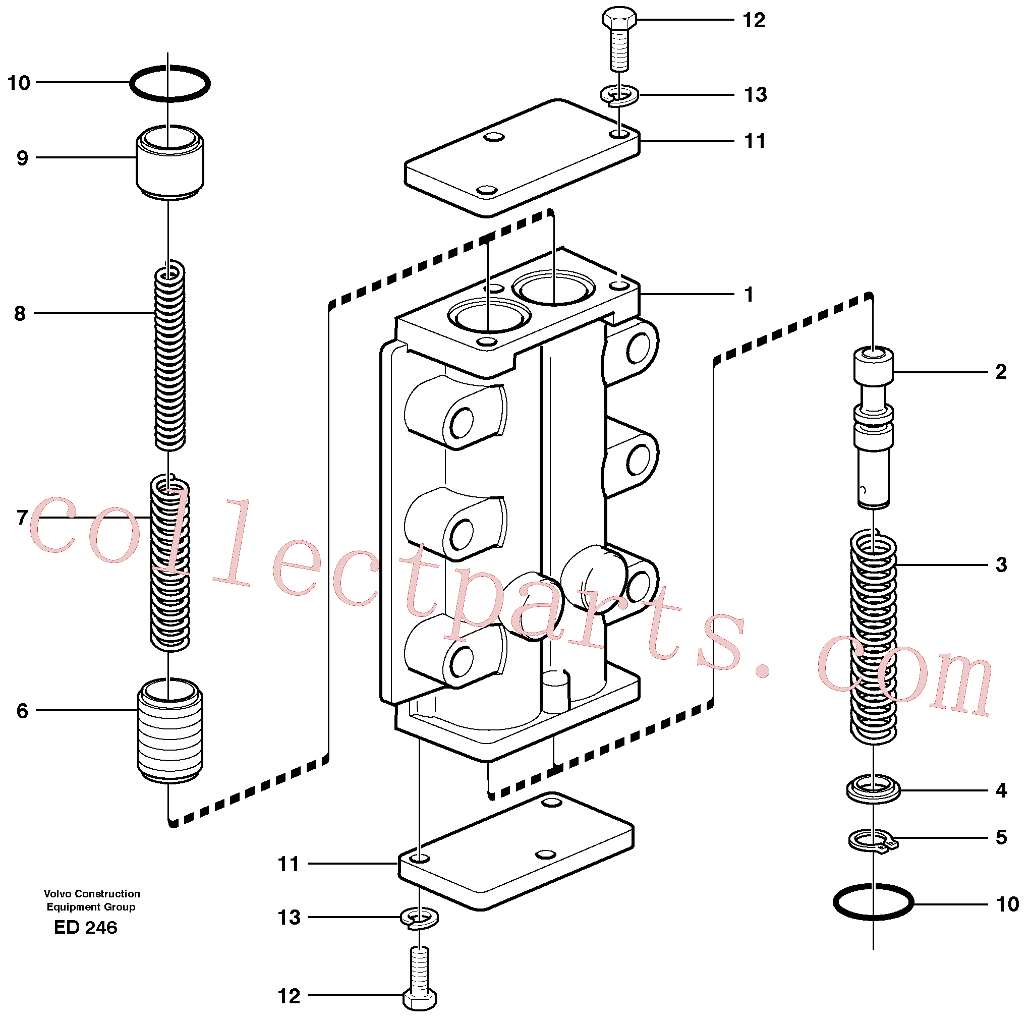 VOE925063 for Volvo Valve, circuit body and return valve(ED246 assembly)