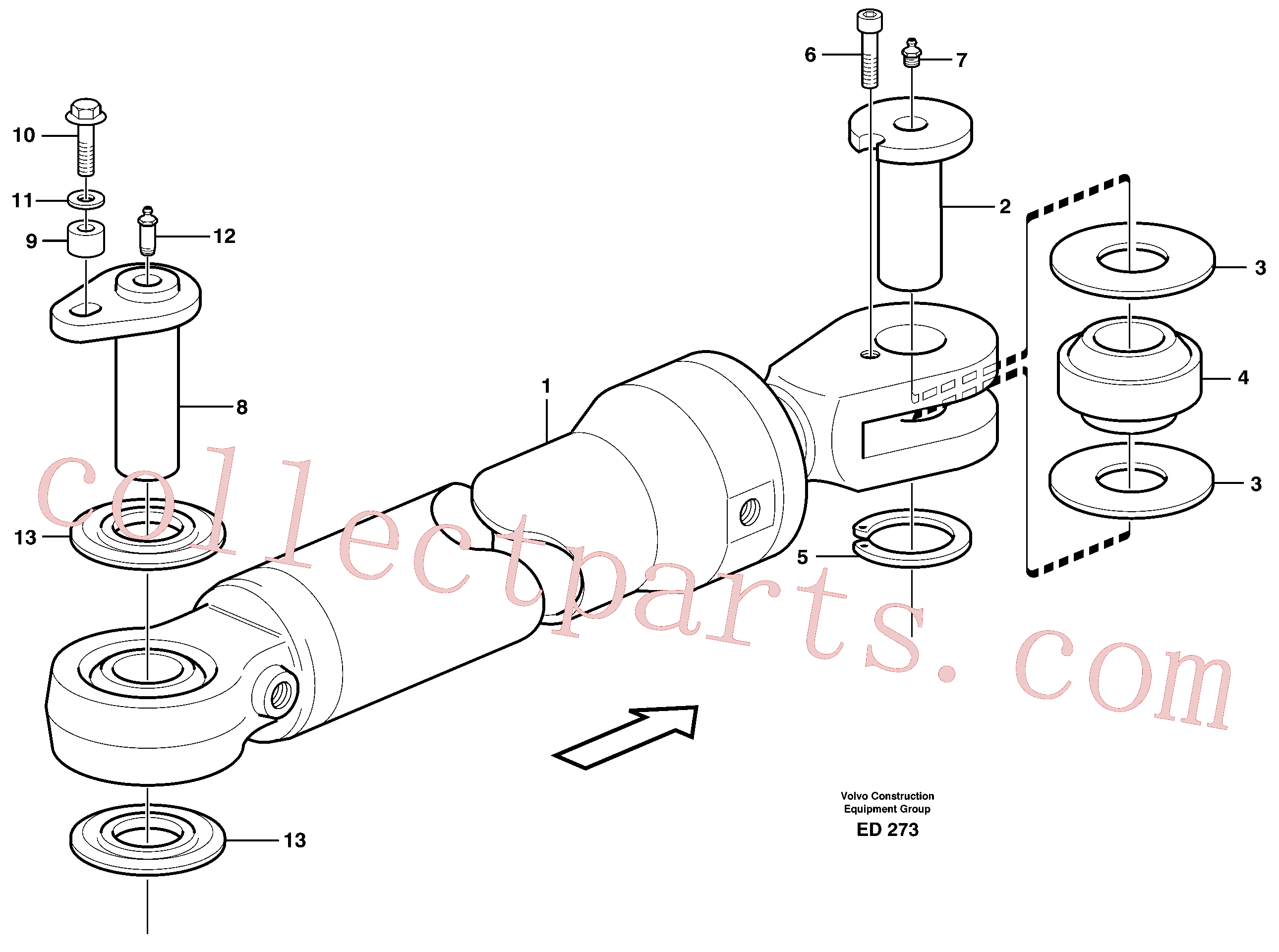 VOE11704196 for Volvo Hydraulic cylinder with fitting parts(ED273 assembly)