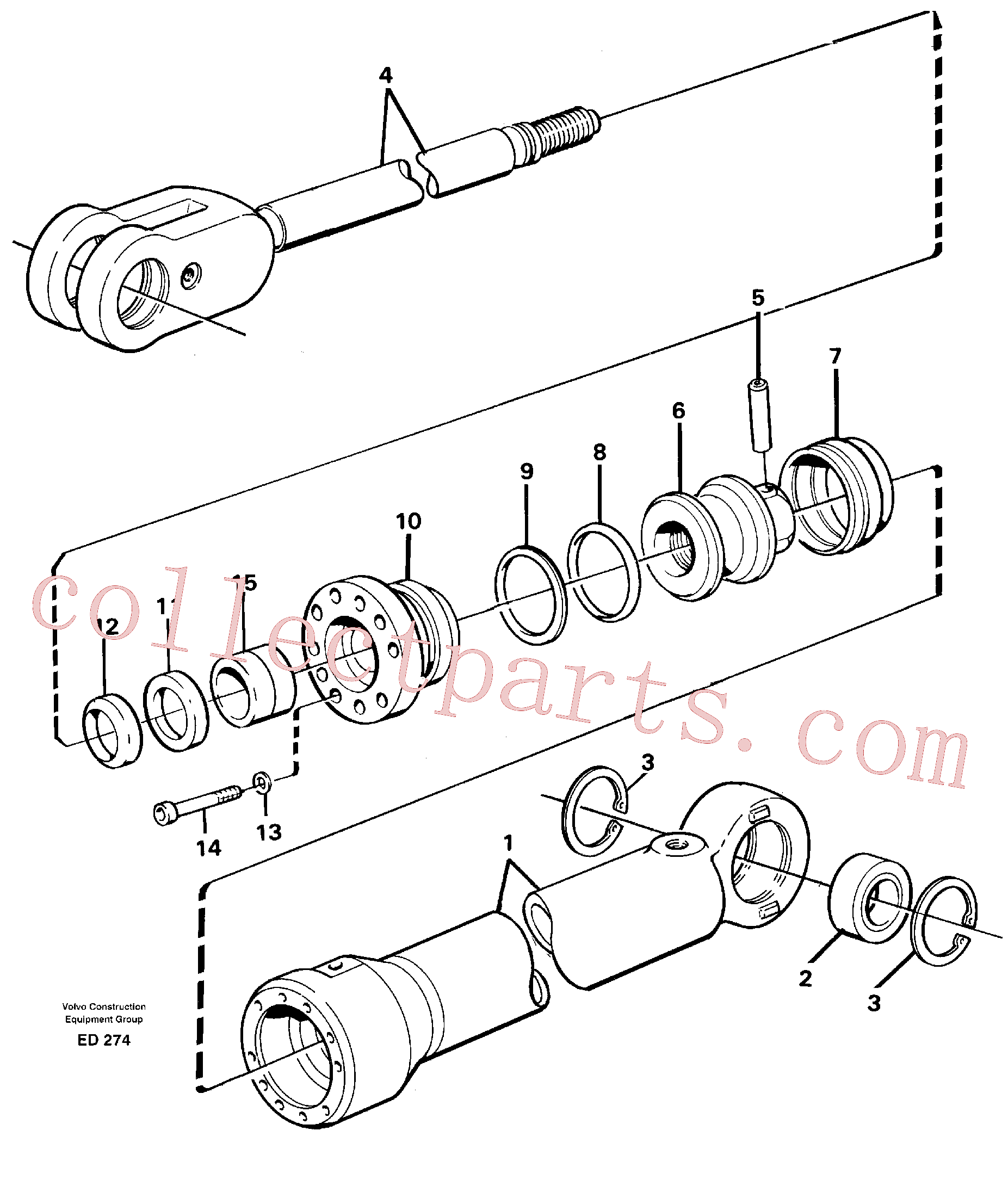VOE11704196 for Volvo Hydraulic cylinder(ED274 assembly)