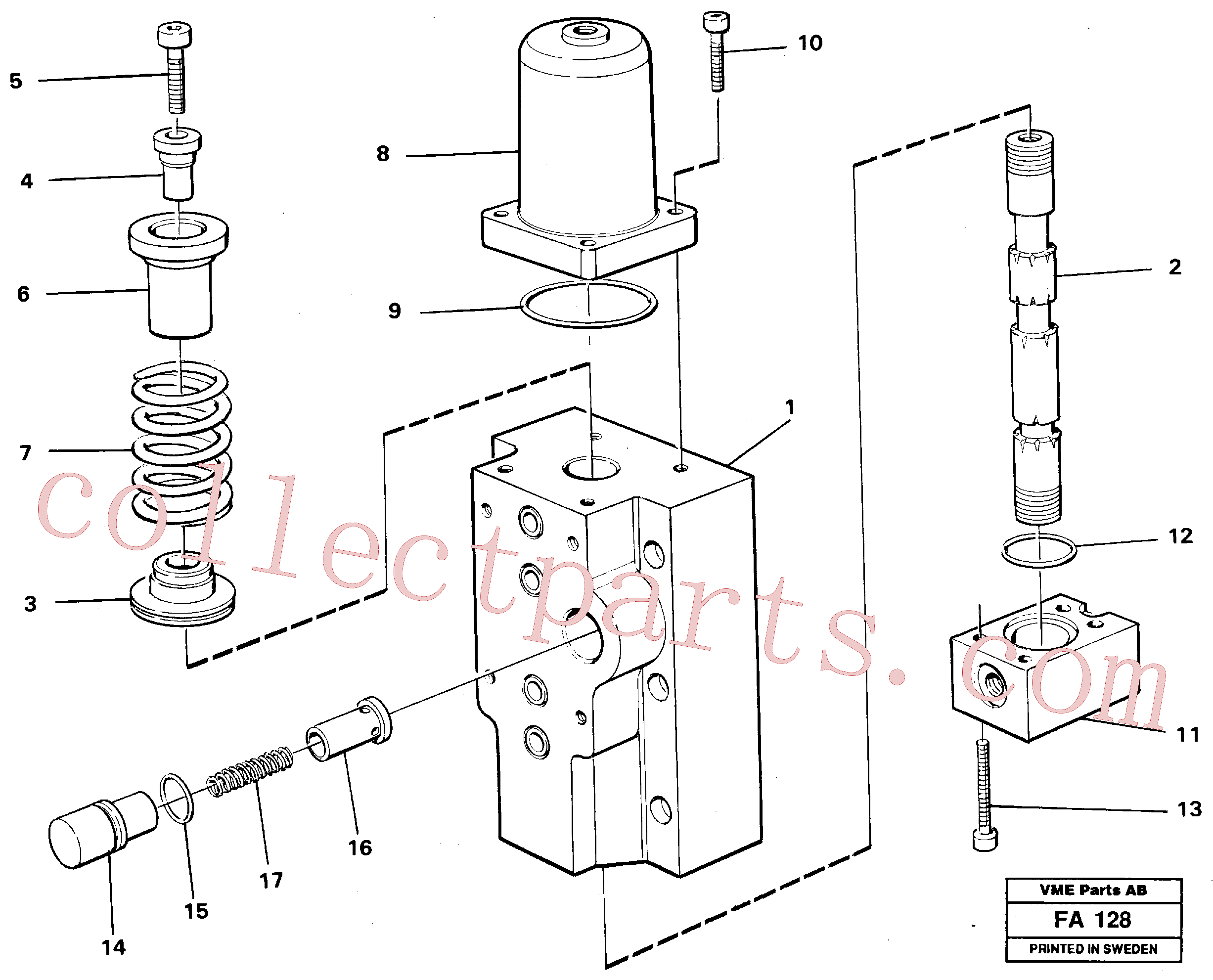 VOE14261819 for Volvo Four-way valve for hammer/shears, Four-way valves Primary(FA128 assembly)