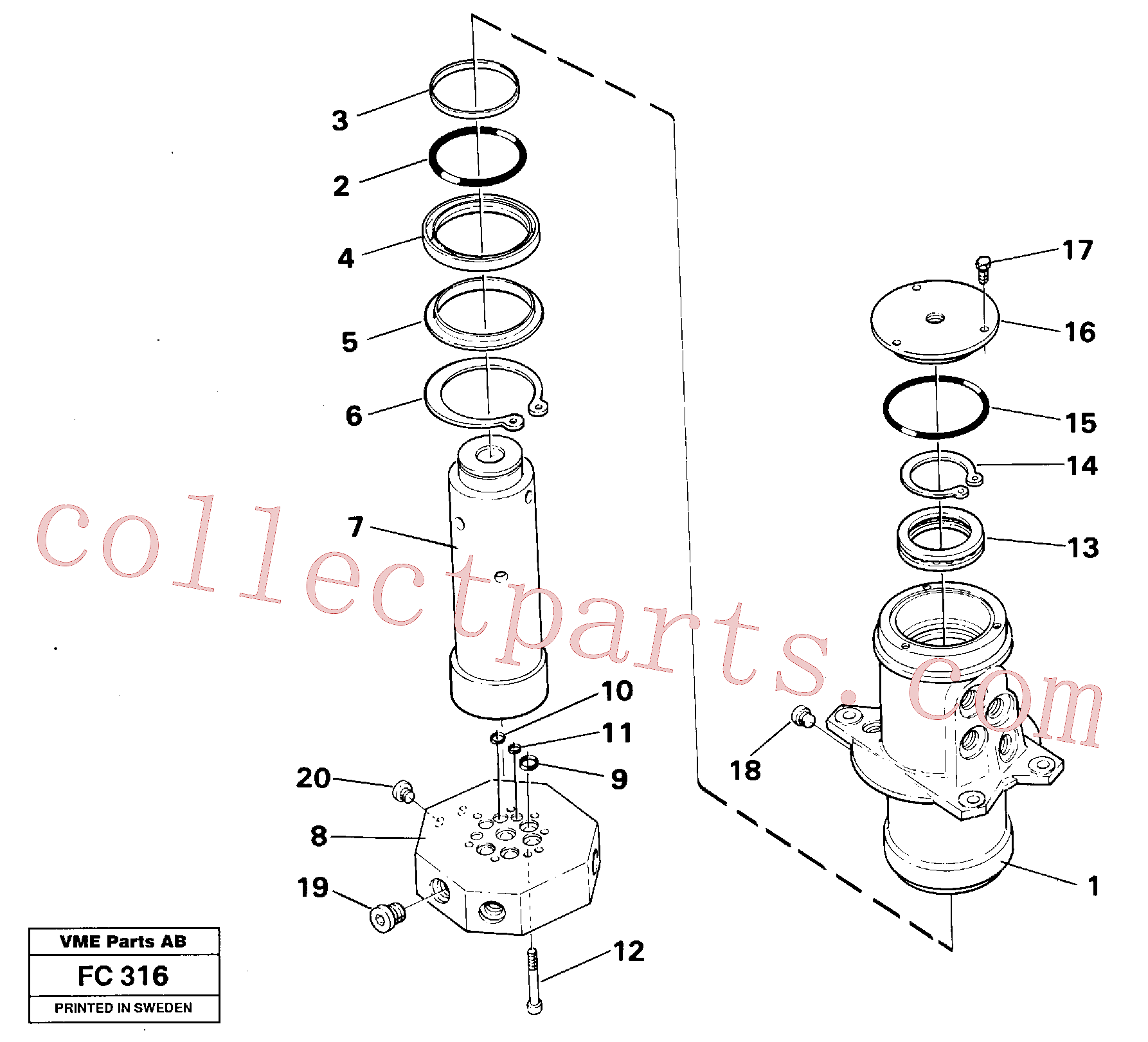 VOE14042888 for Volvo Turning joint(FC316 assembly)