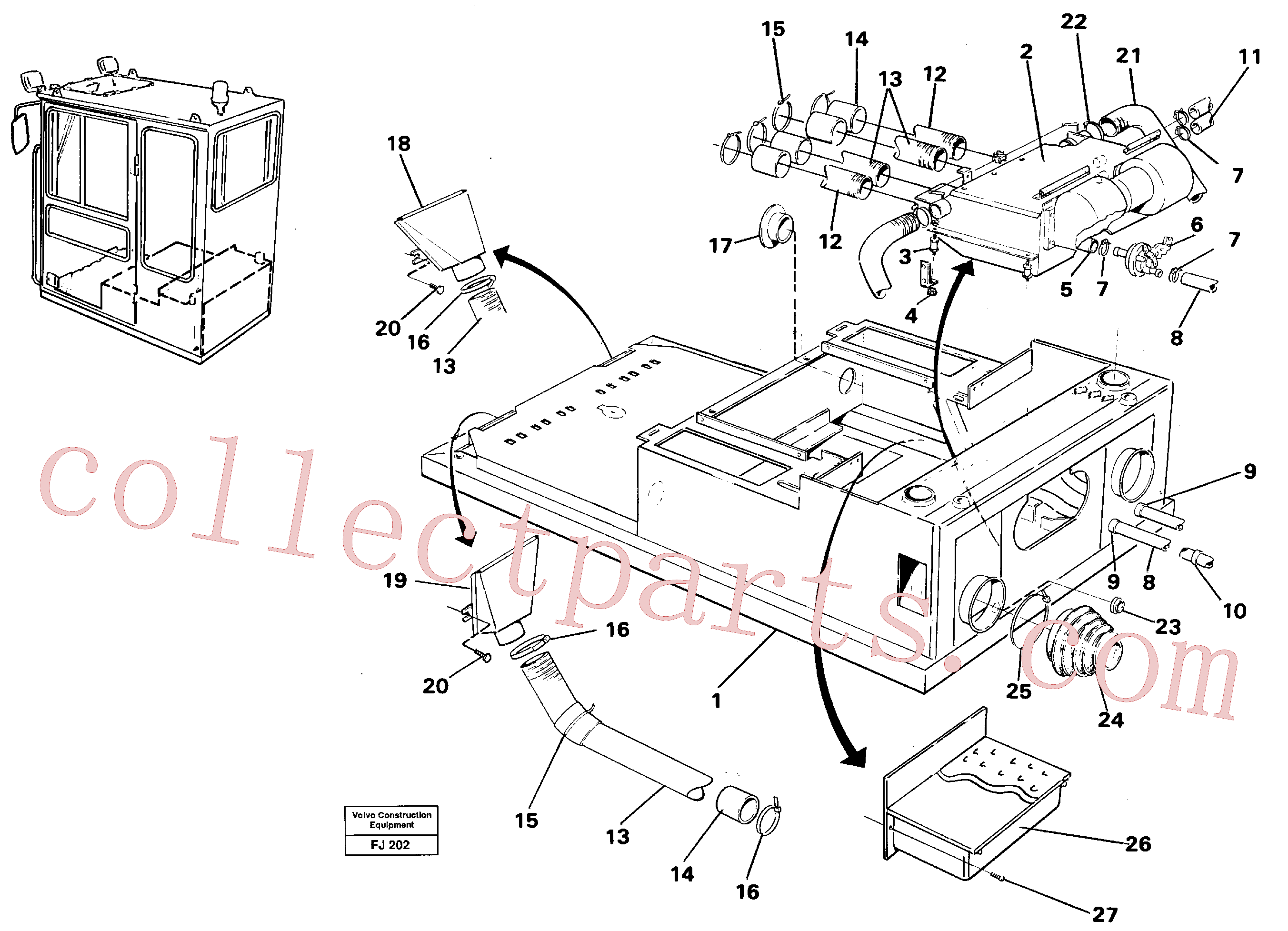 VOE14230015 for Volvo Cab heater with fitting parts(FJ202 assembly)