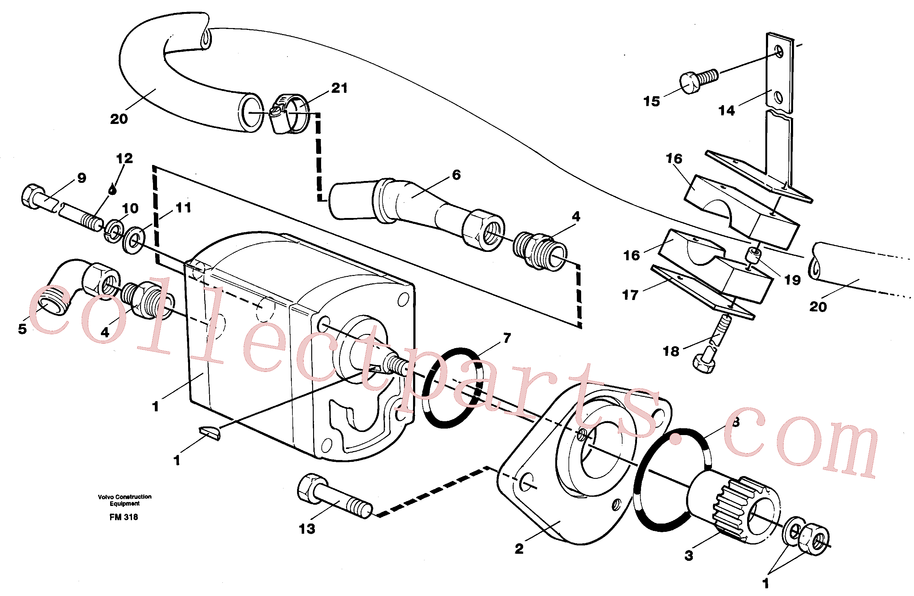 VOE14264640 for Volvo Servo pump with assembly parts(FM318 assembly)