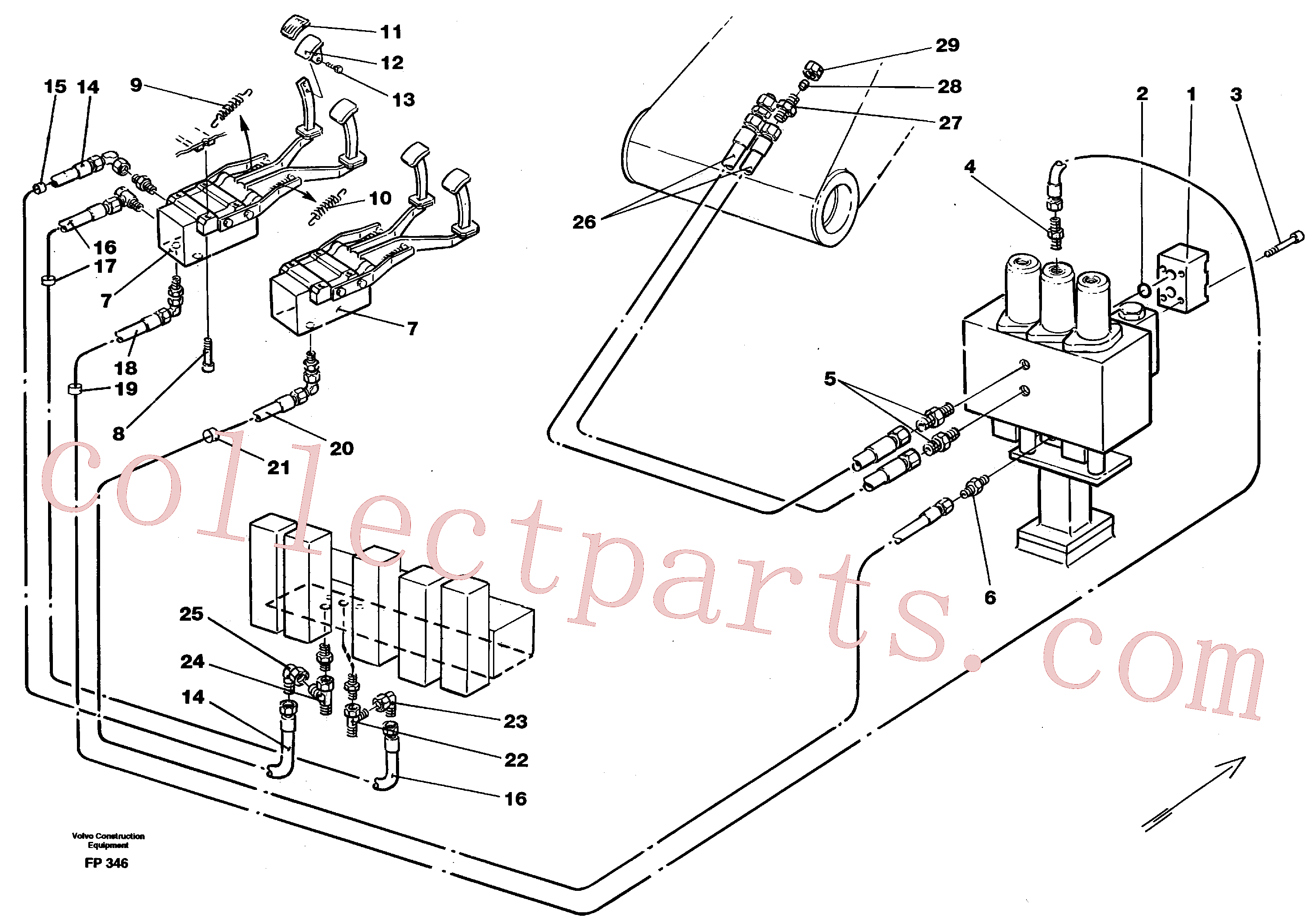 VOE14250306 for Volvo Slope bucket/rotating grab hydraulics in base machine(FP346 assembly)