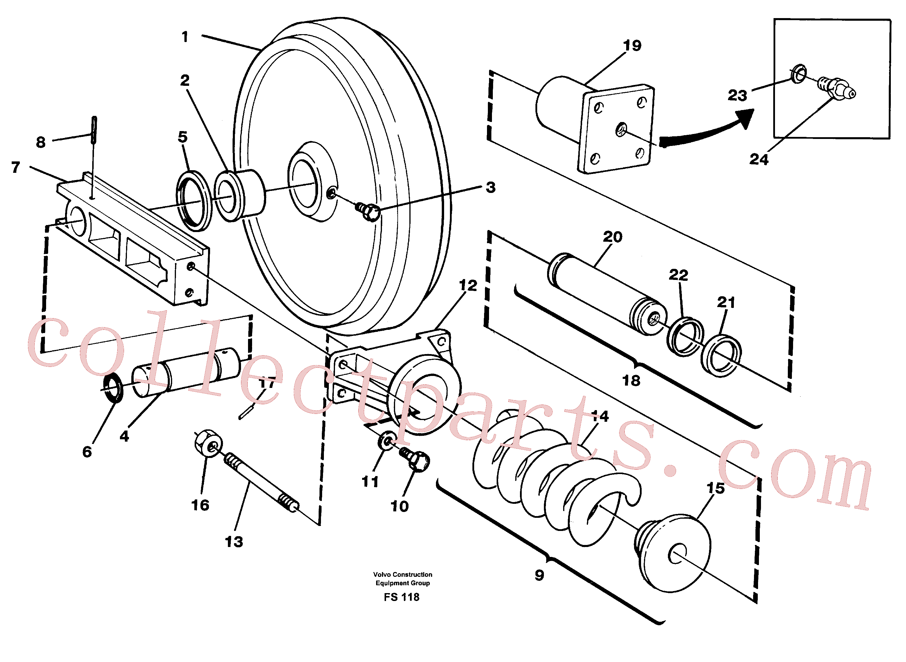 VOE14014068 for Volvo Front idler, spring package and tension cylinder(FS118 assembly)