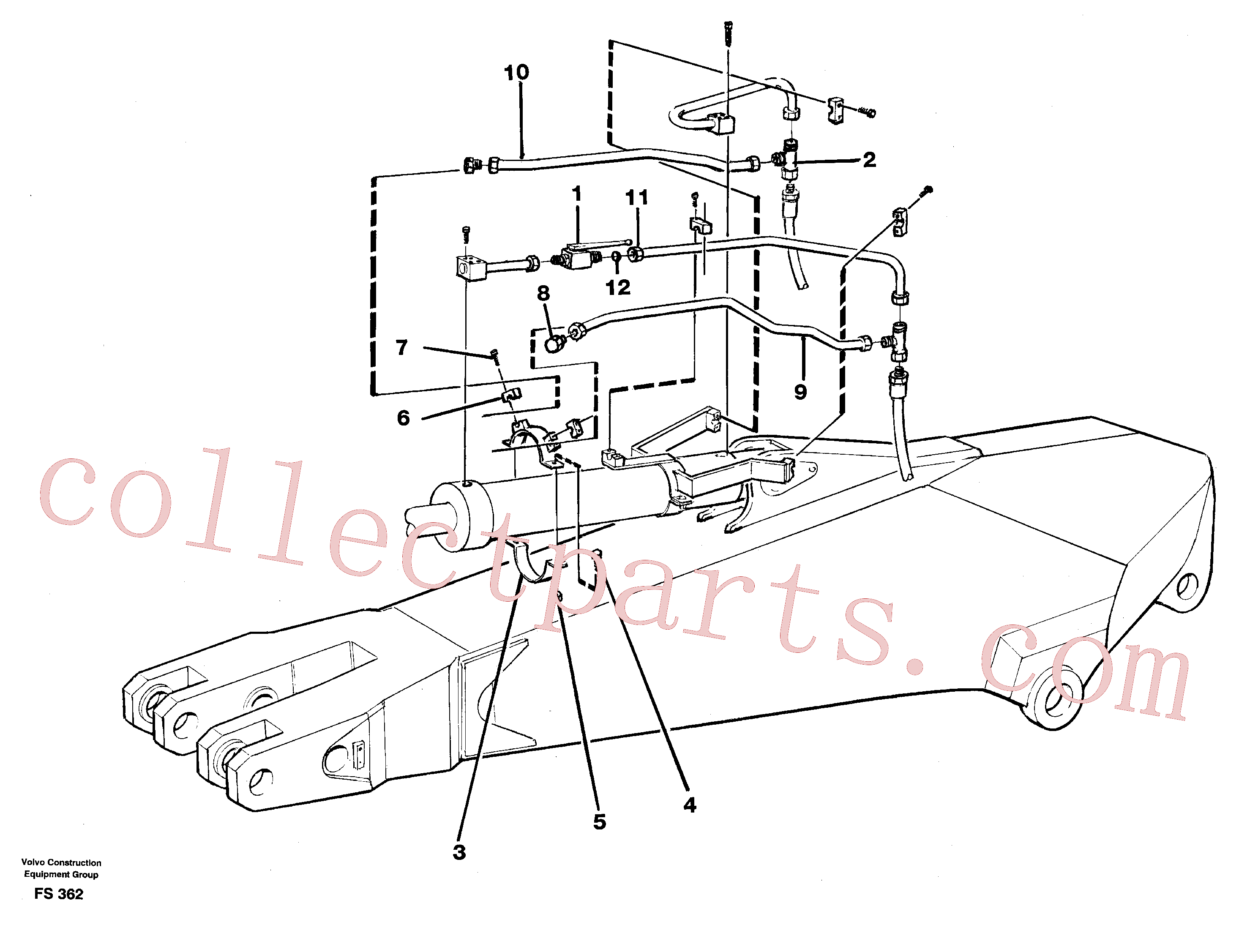 VOE14253786 for Volvo Hydraulics for parallel connected clamshell equipon dipper arm 2.50/3.50 M(FS362 assembly)