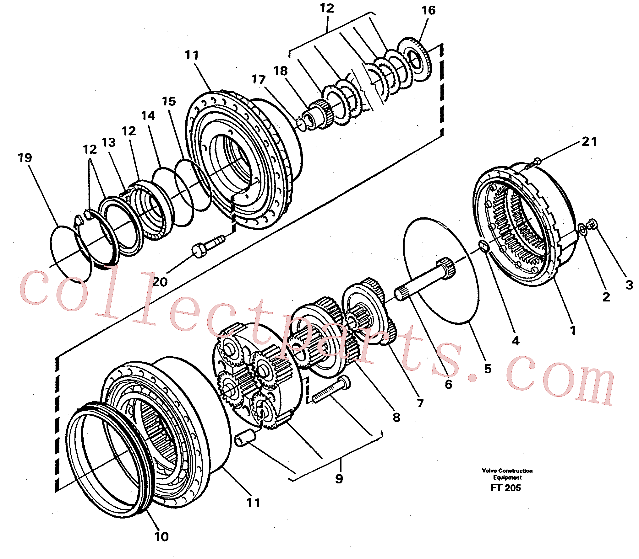 VOE11701233 for Volvo Planetary gear, travel(FT205 assembly)