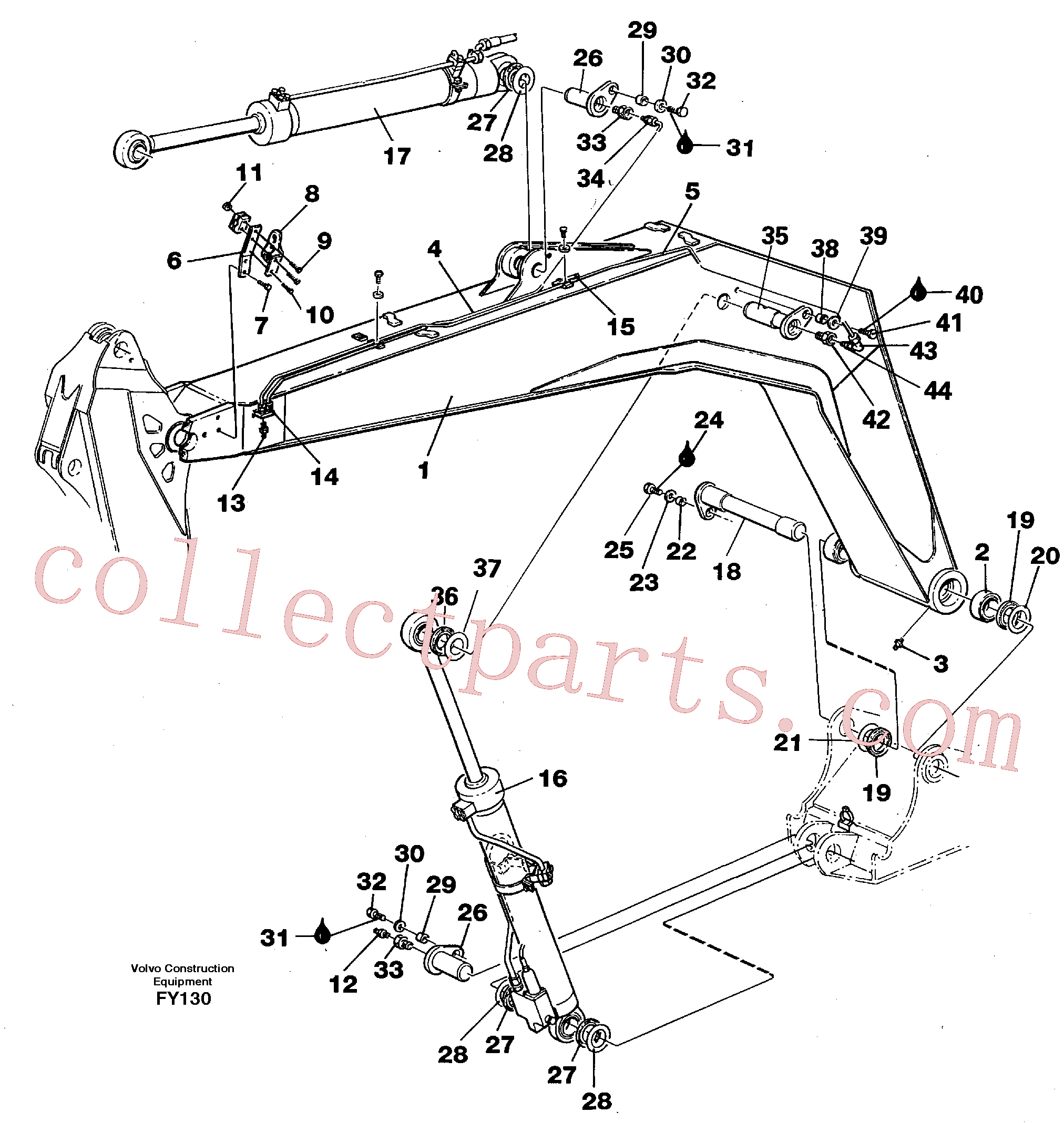 VOE14042986 for Volvo Backhoe boom 4,40m(FY130 assembly)