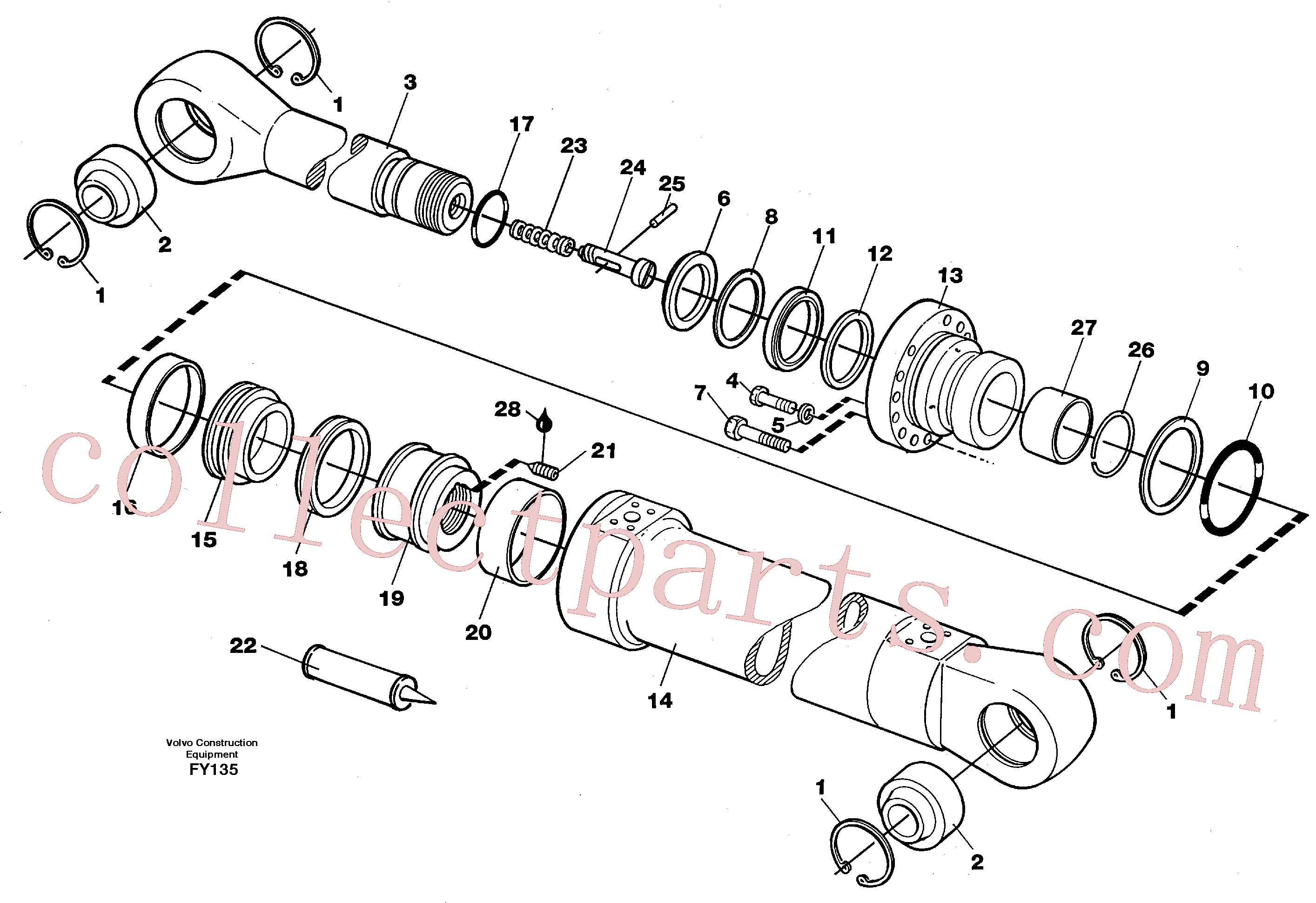 VOE14235929 for Volvo Dipper arm cylinder(FY135 assembly)