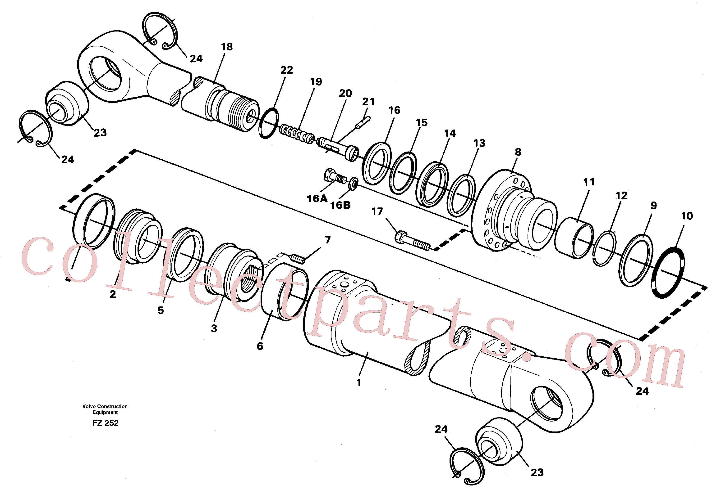 VOE14235929 for Volvo Dipper cylinder, backhoe equipment(FZ252 assembly)