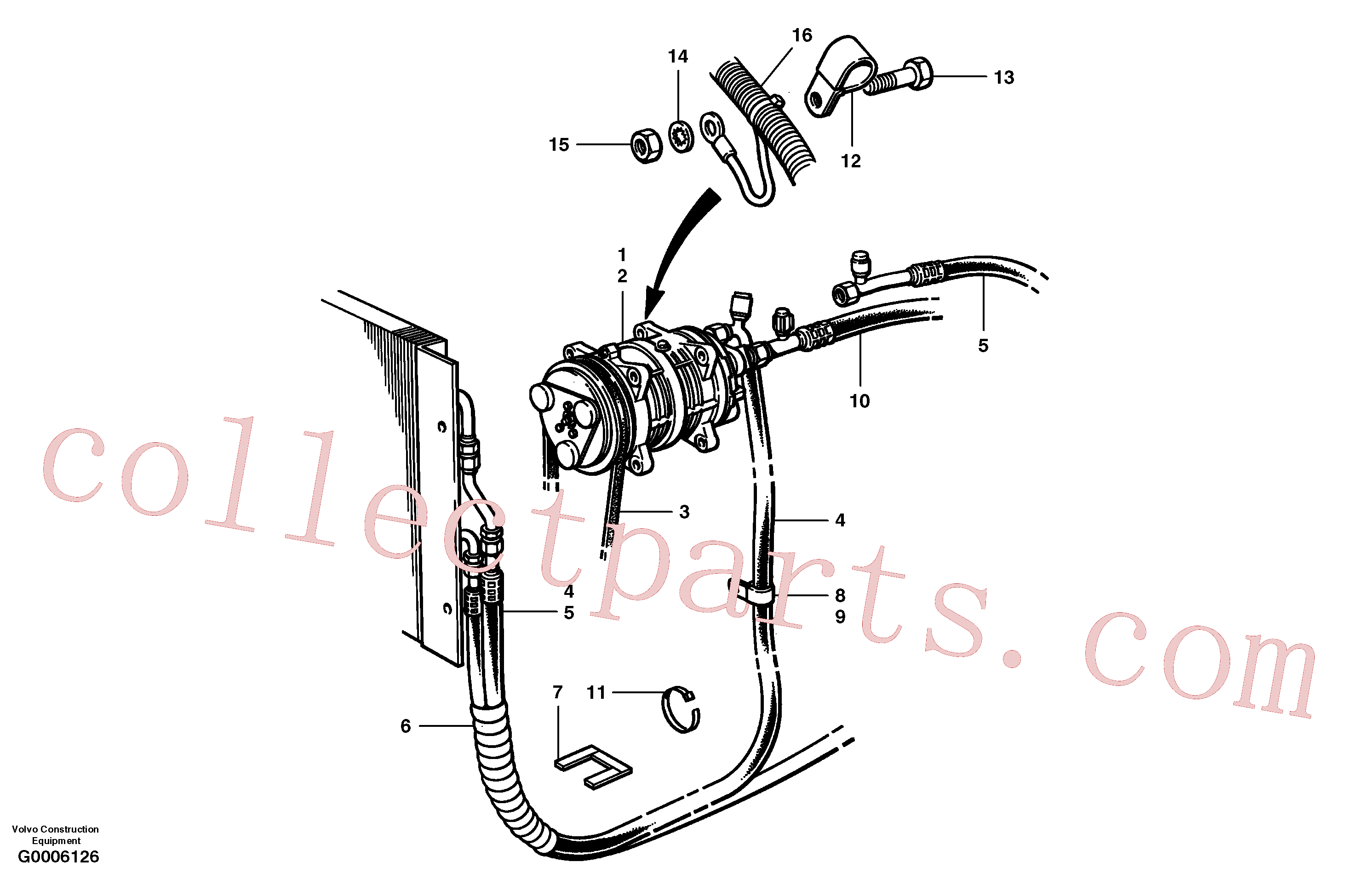 CH32316 for Volvo Air conditioning compressor and hoses(G0006126 assembly)