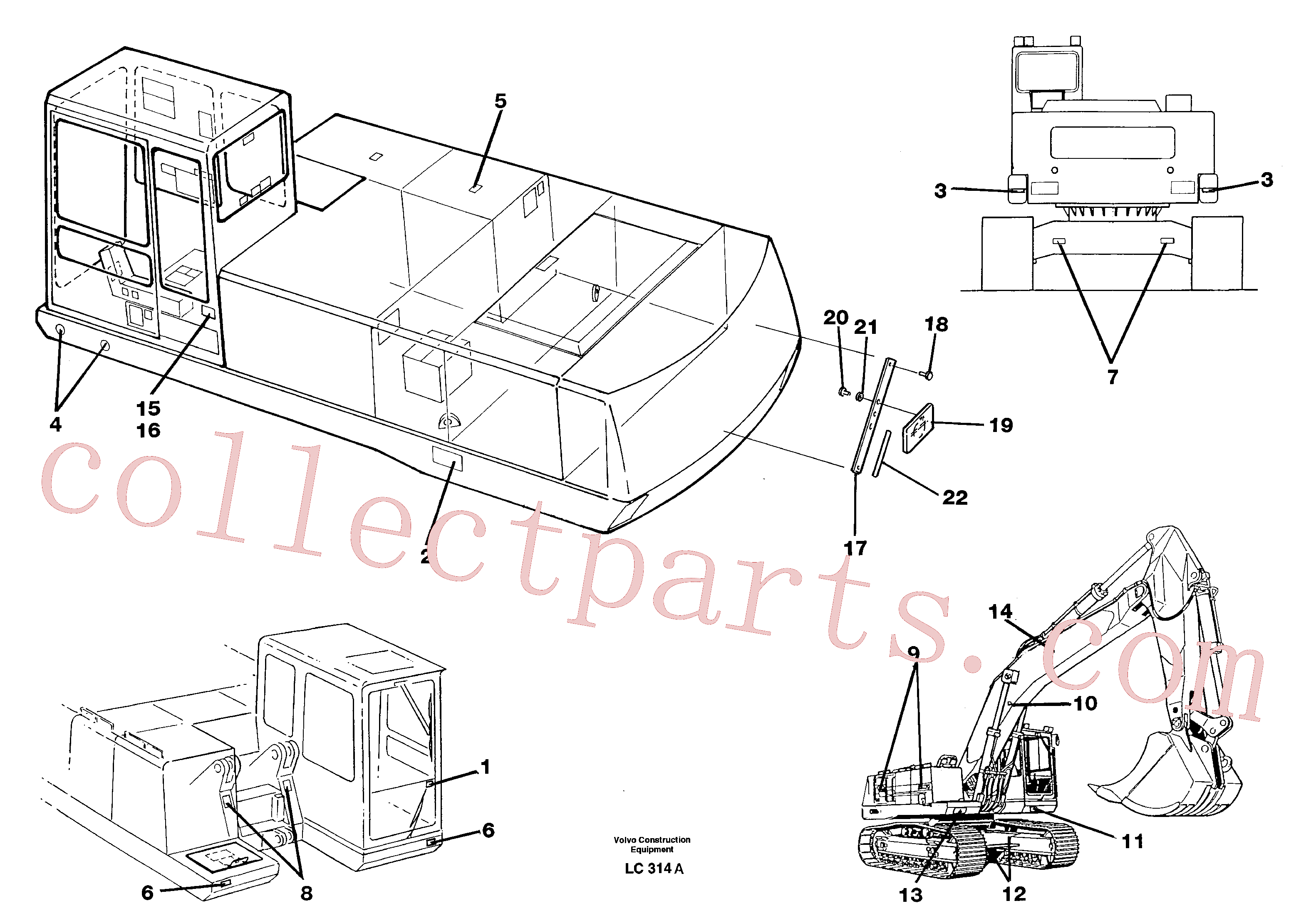VOE11004094 for Volvo Sign plates and transfer,outer location(LC314A assembly)