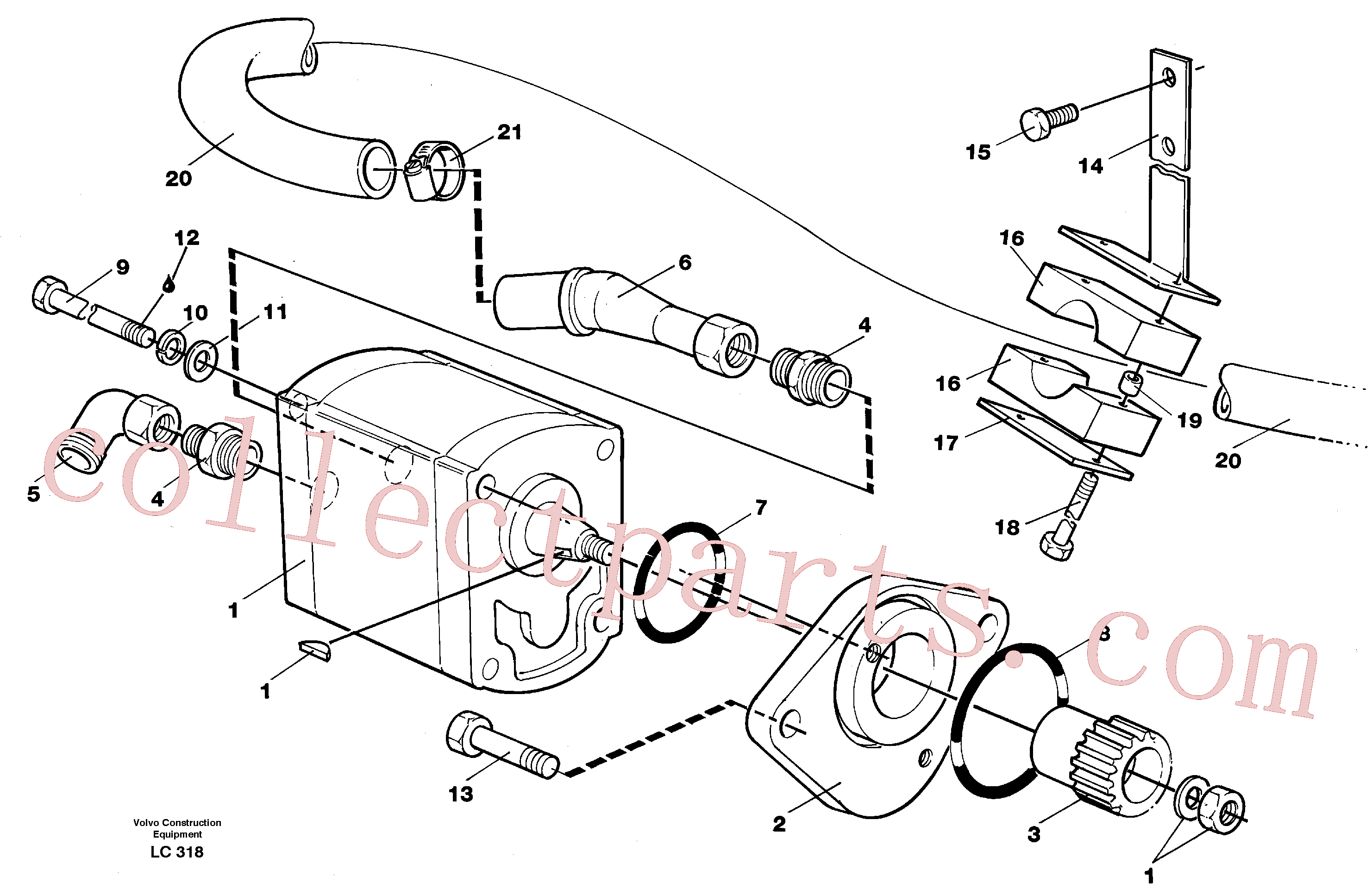 VOE14264640 for Volvo Servo pump with assembly parts(LC318 assembly)