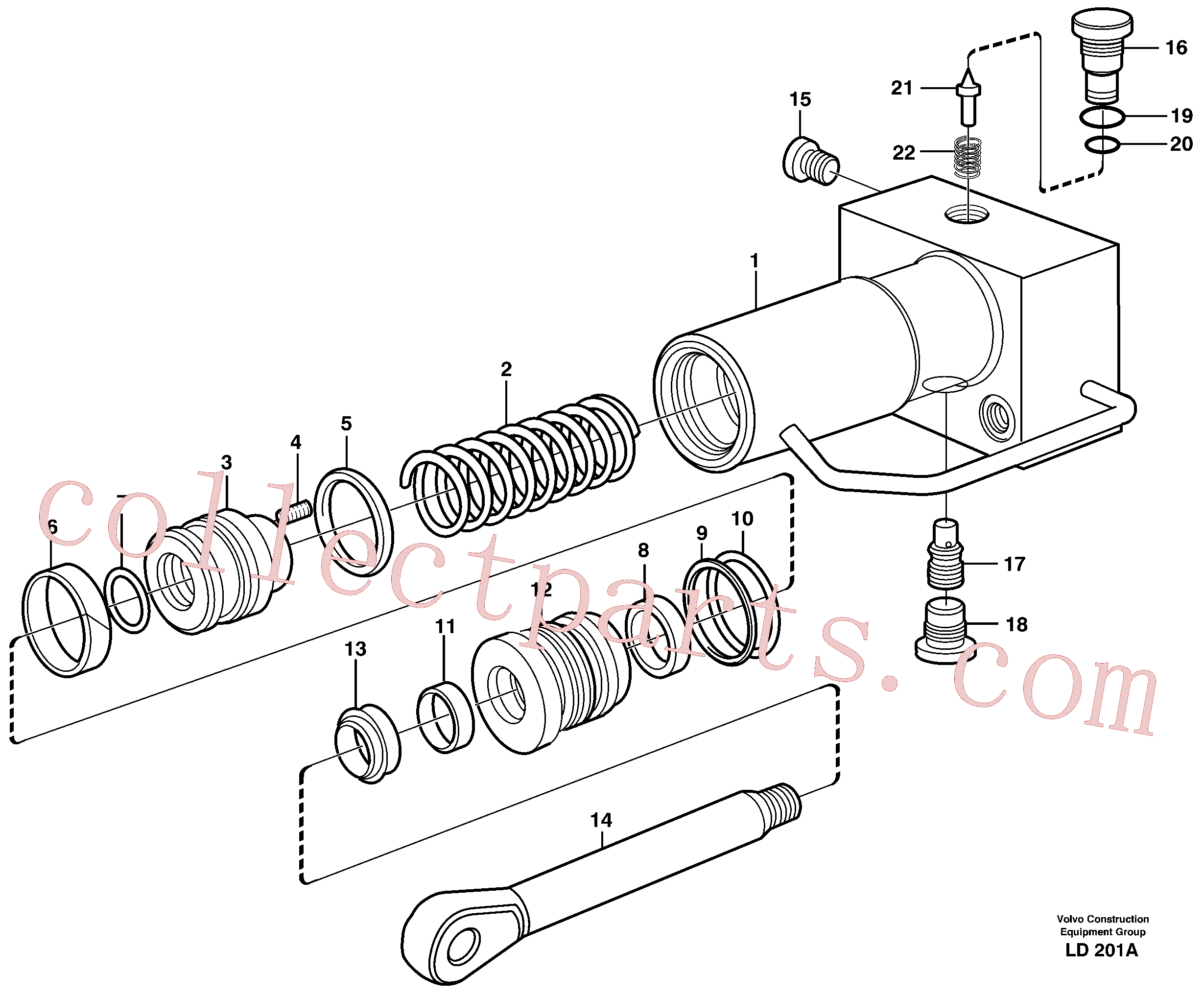 VOE11707591 for Volvo Hydraulic cylinder, quick attachment(LD201A assembly)