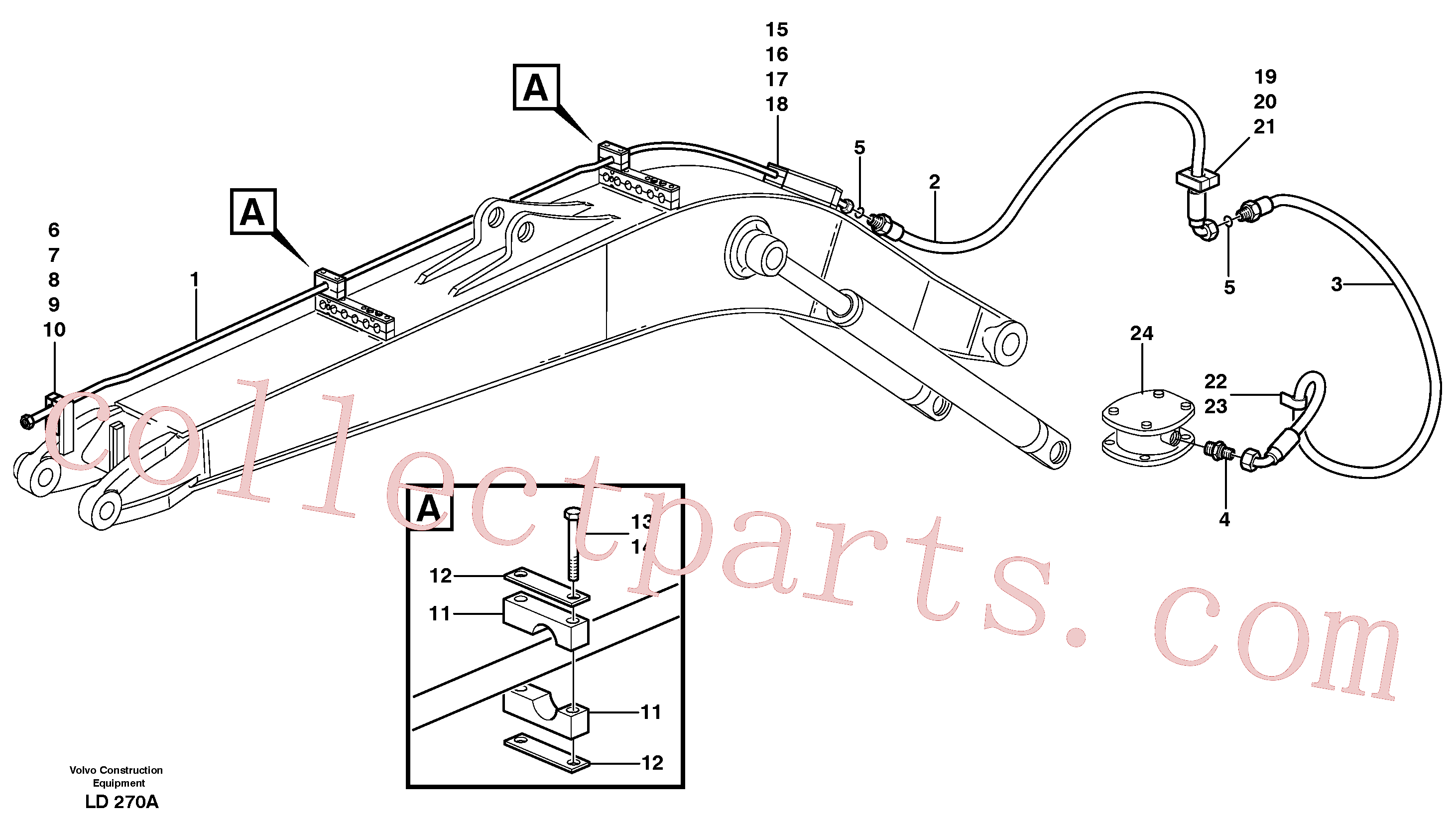 VOE14371654 for Volvo Hammer hydraulics on mono boom, return line(LD270A assembly)