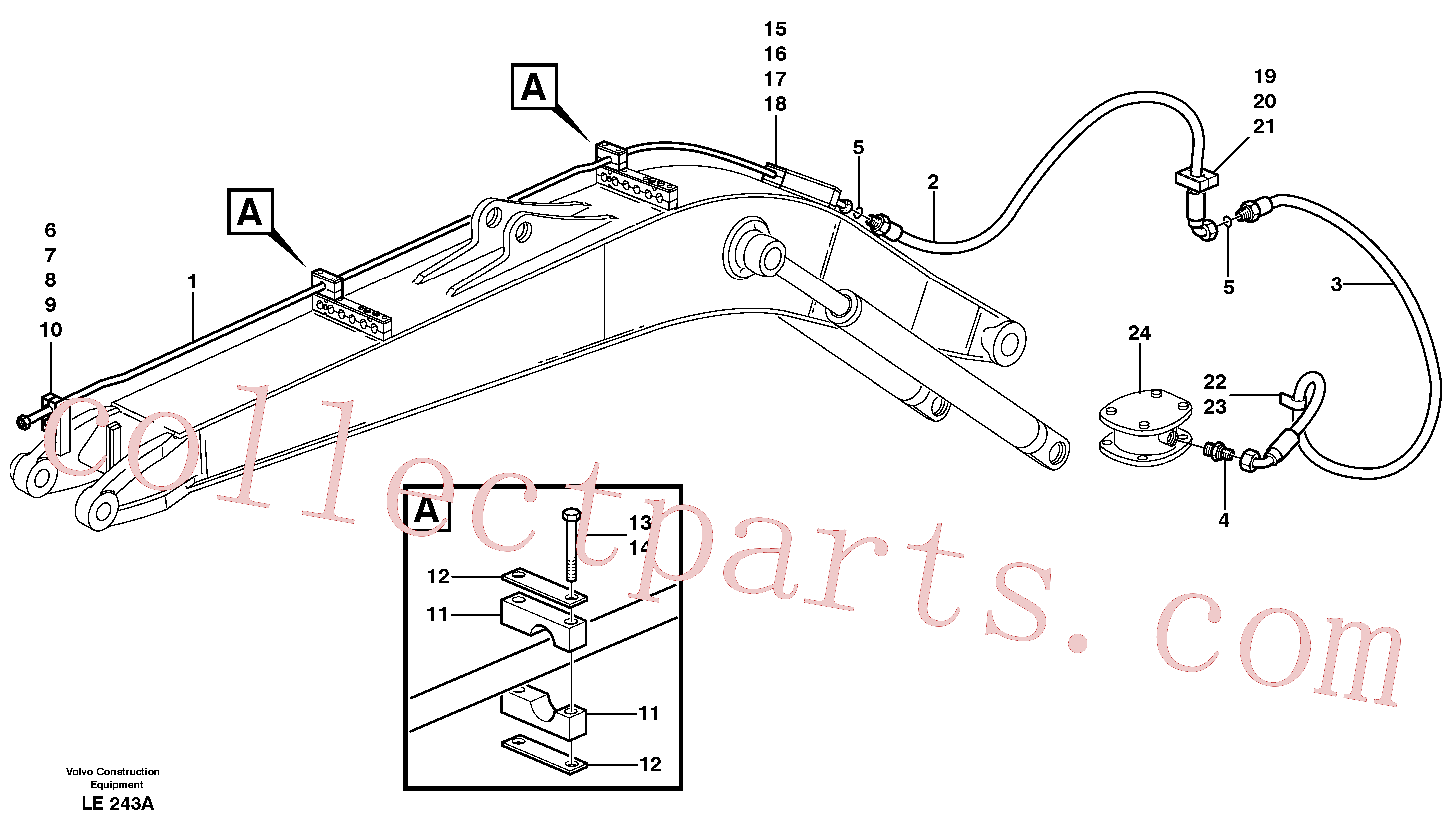 VOE14371654 for Volvo Hammer hydraulics on mono boom, return line(LE243A assembly)