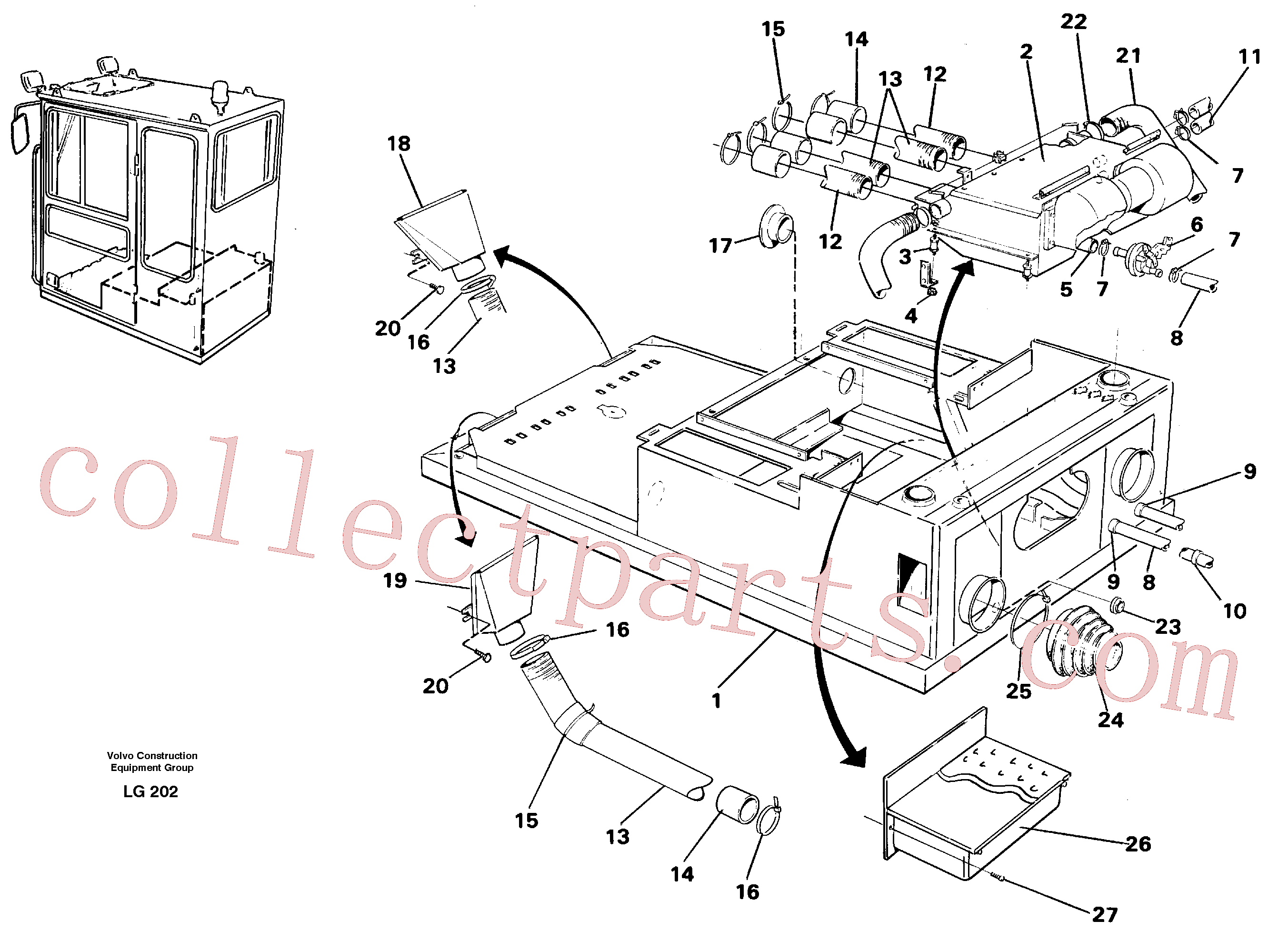 VOE14230015 for Volvo Cab heater with fitting parts(LG202 assembly)