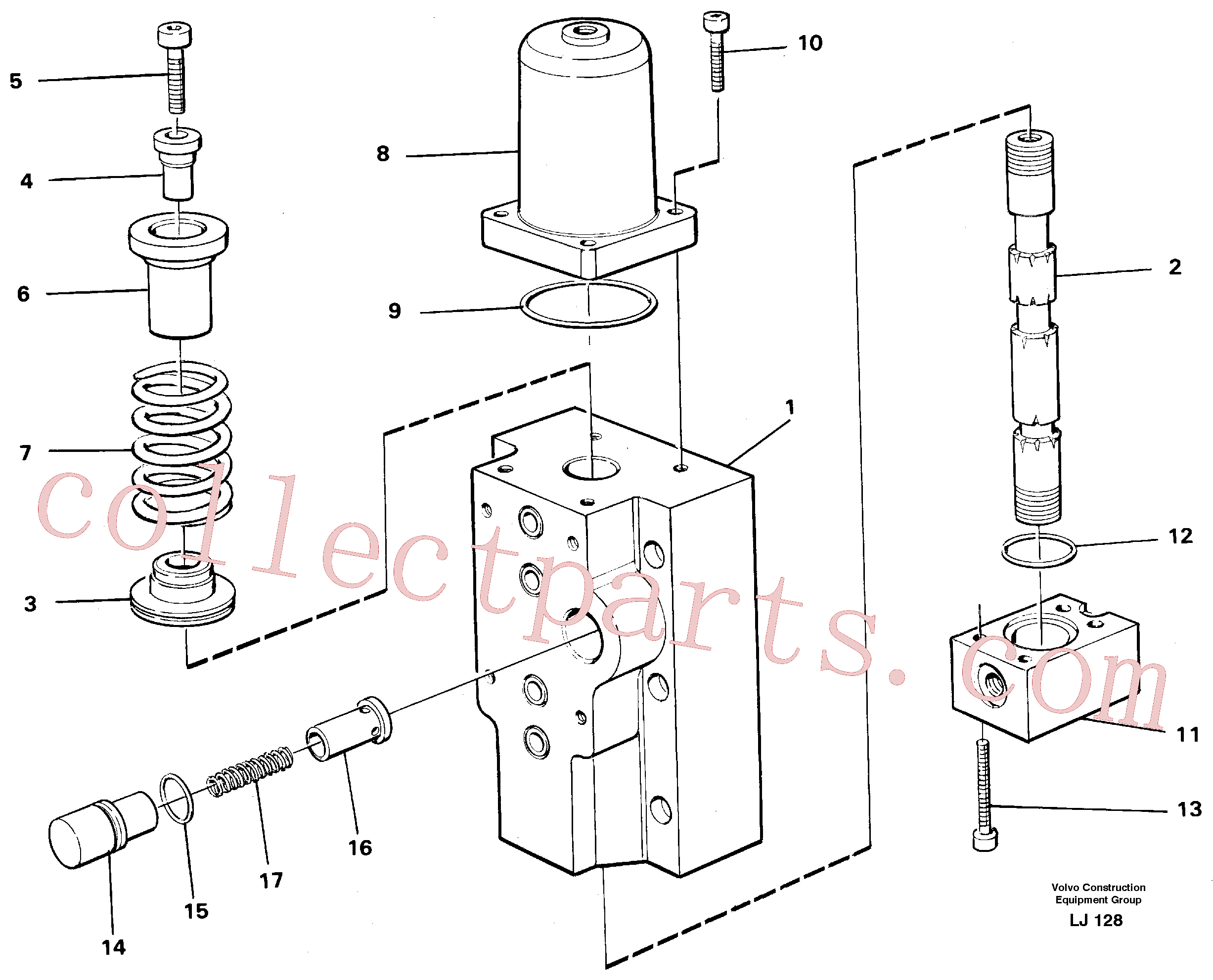 VOE14048548 for Volvo Four-way valves Primary, Four-way valve for hammer/shears(LJ128 assembly)