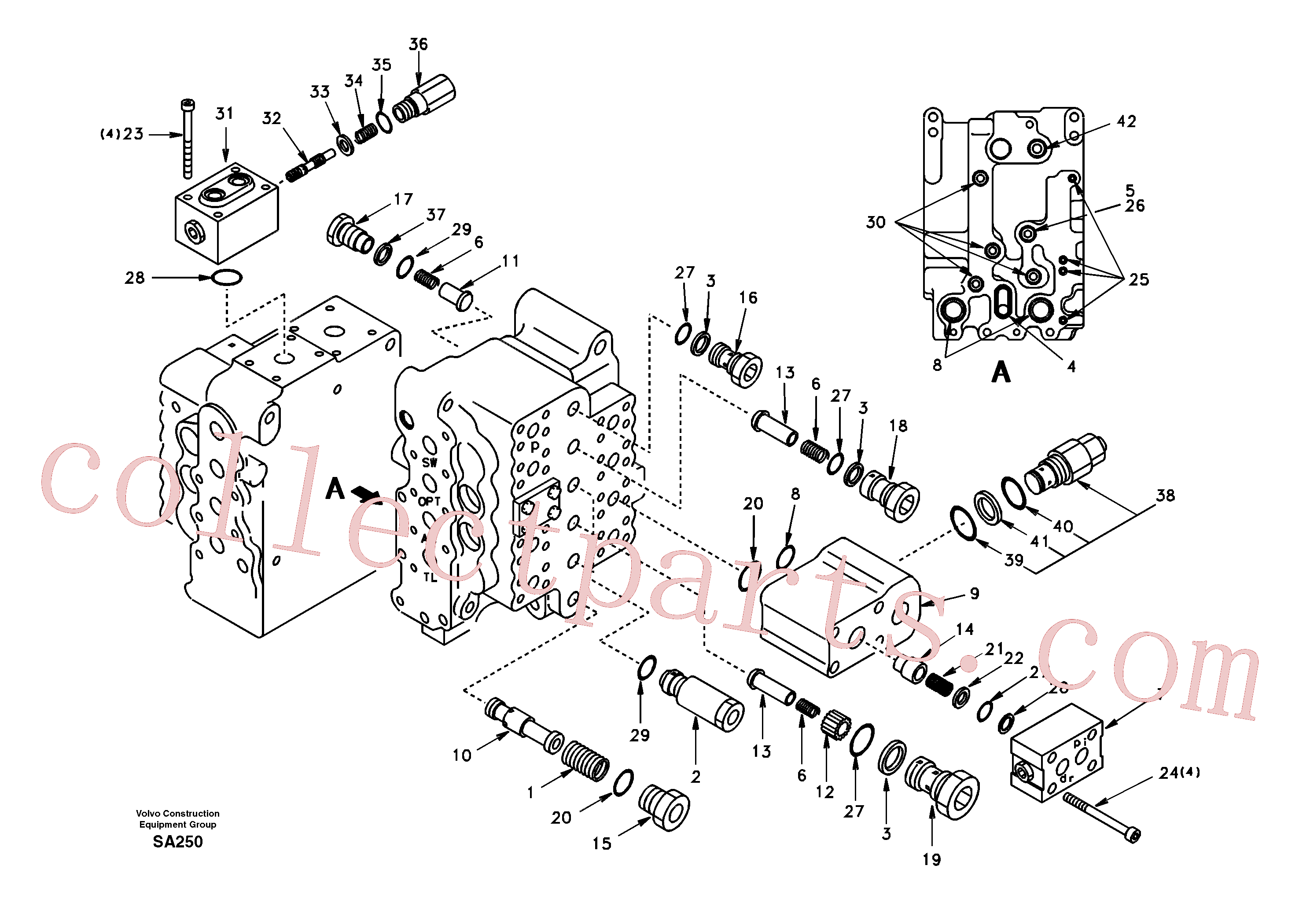 SA9511-12034 for Volvo Main control valve, relief valve and dipper arm holding(SA250 assembly)
