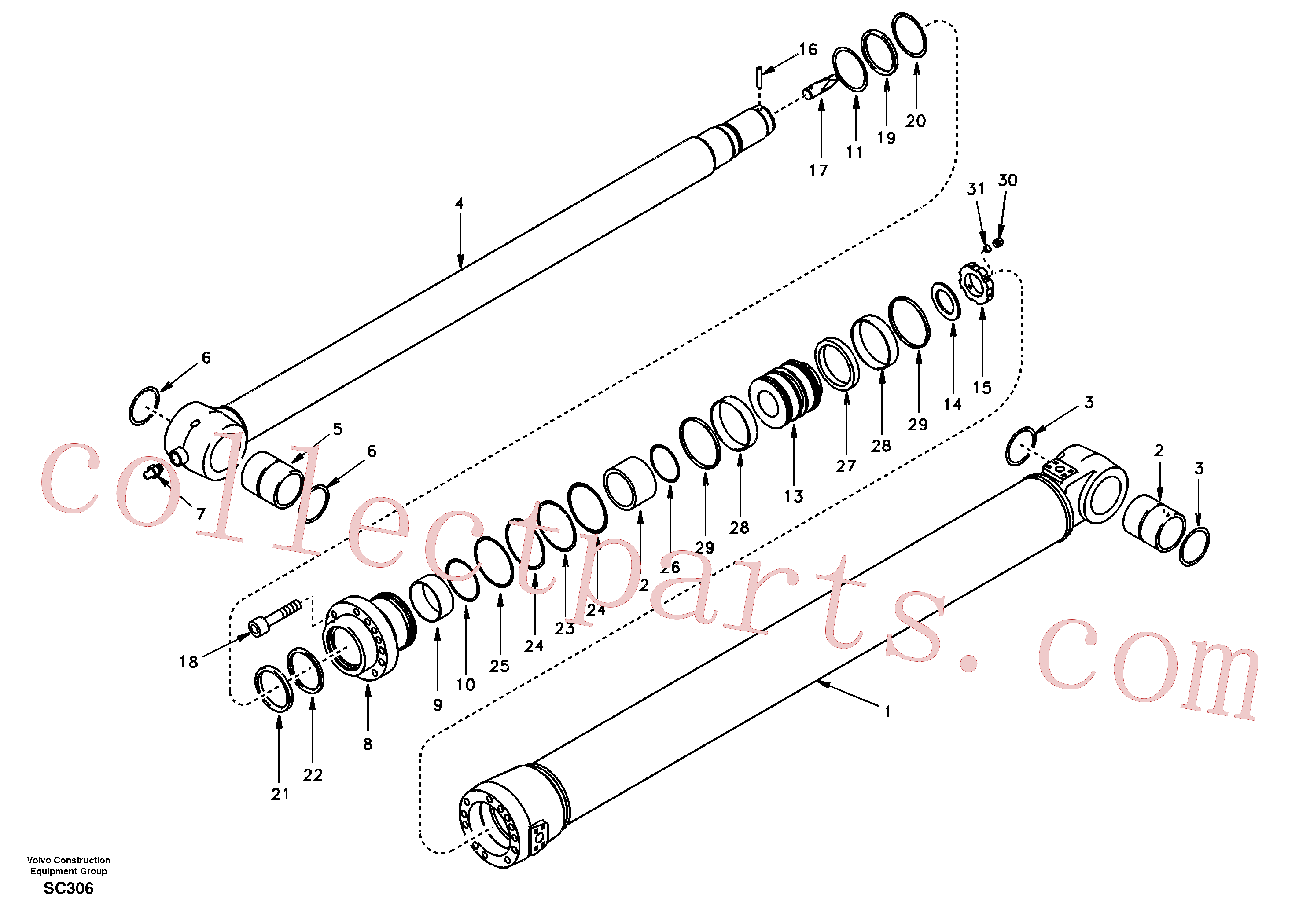 VOE14589651 for Volvo Dipper arm cylinder(SC306 assembly)