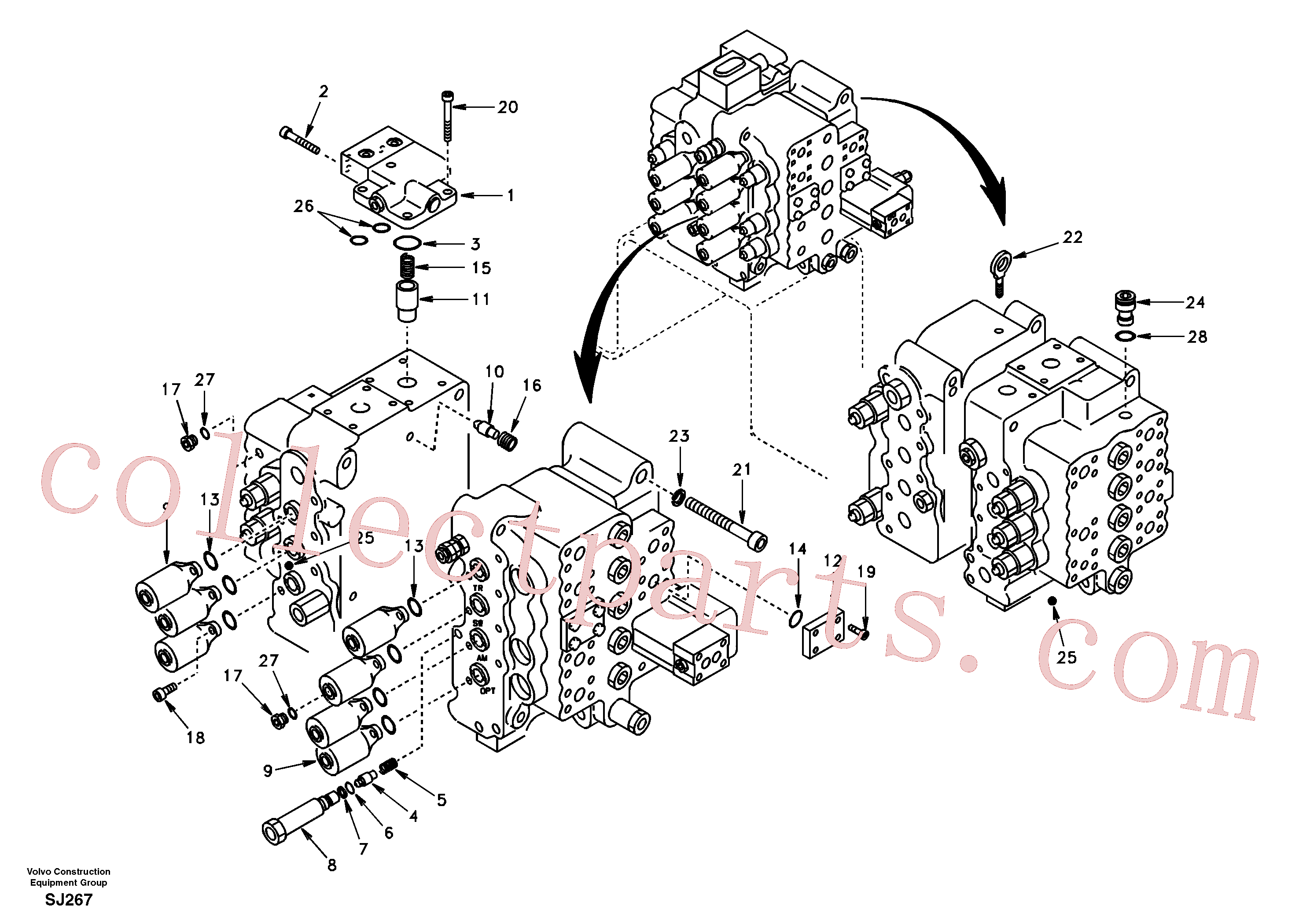SA9566-10120 for Volvo Control valve with fitting parts.(SJ267 assembly)