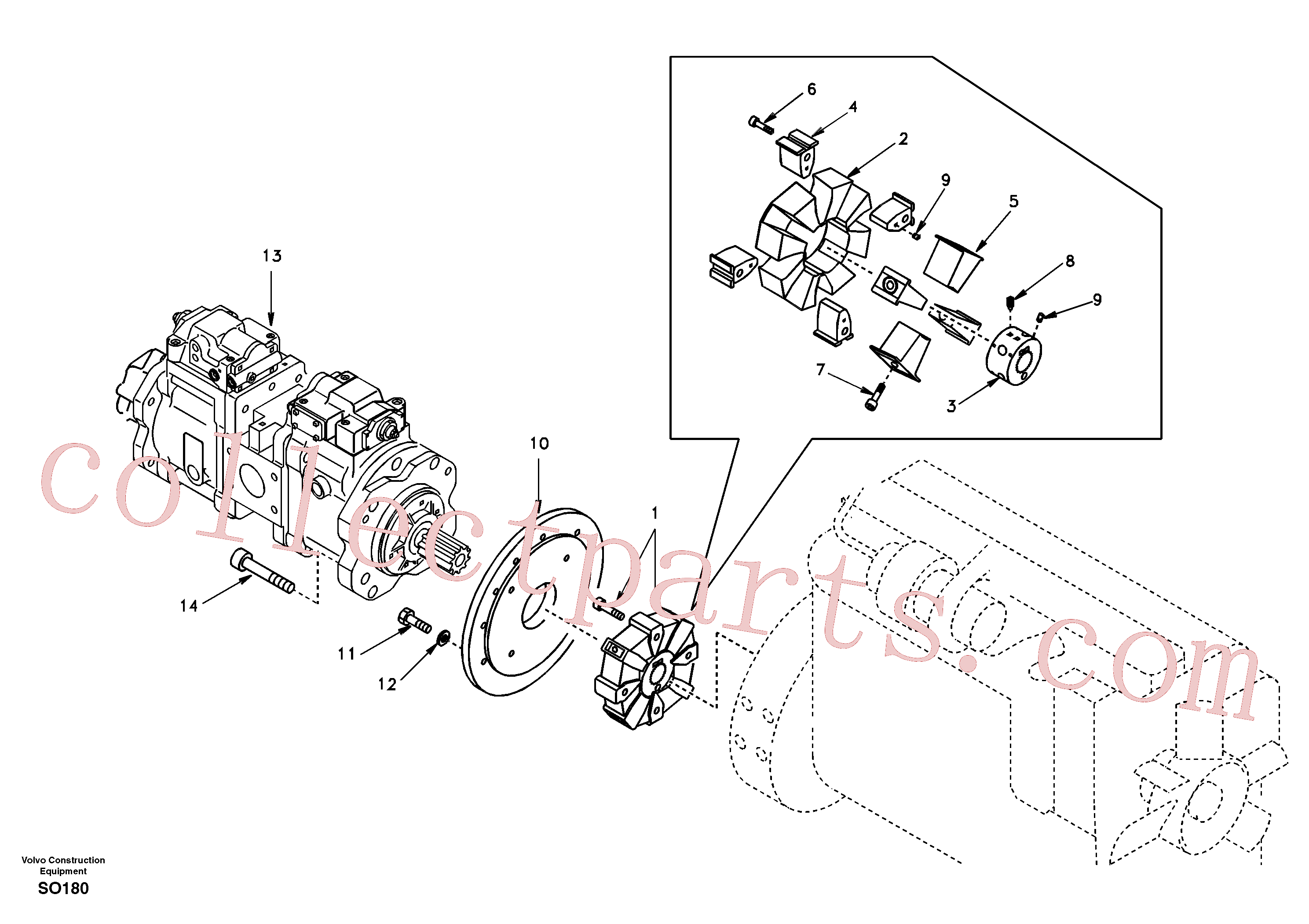 SA14509684 for Volvo Pump gearbox with assembling parts(SO180 assembly)