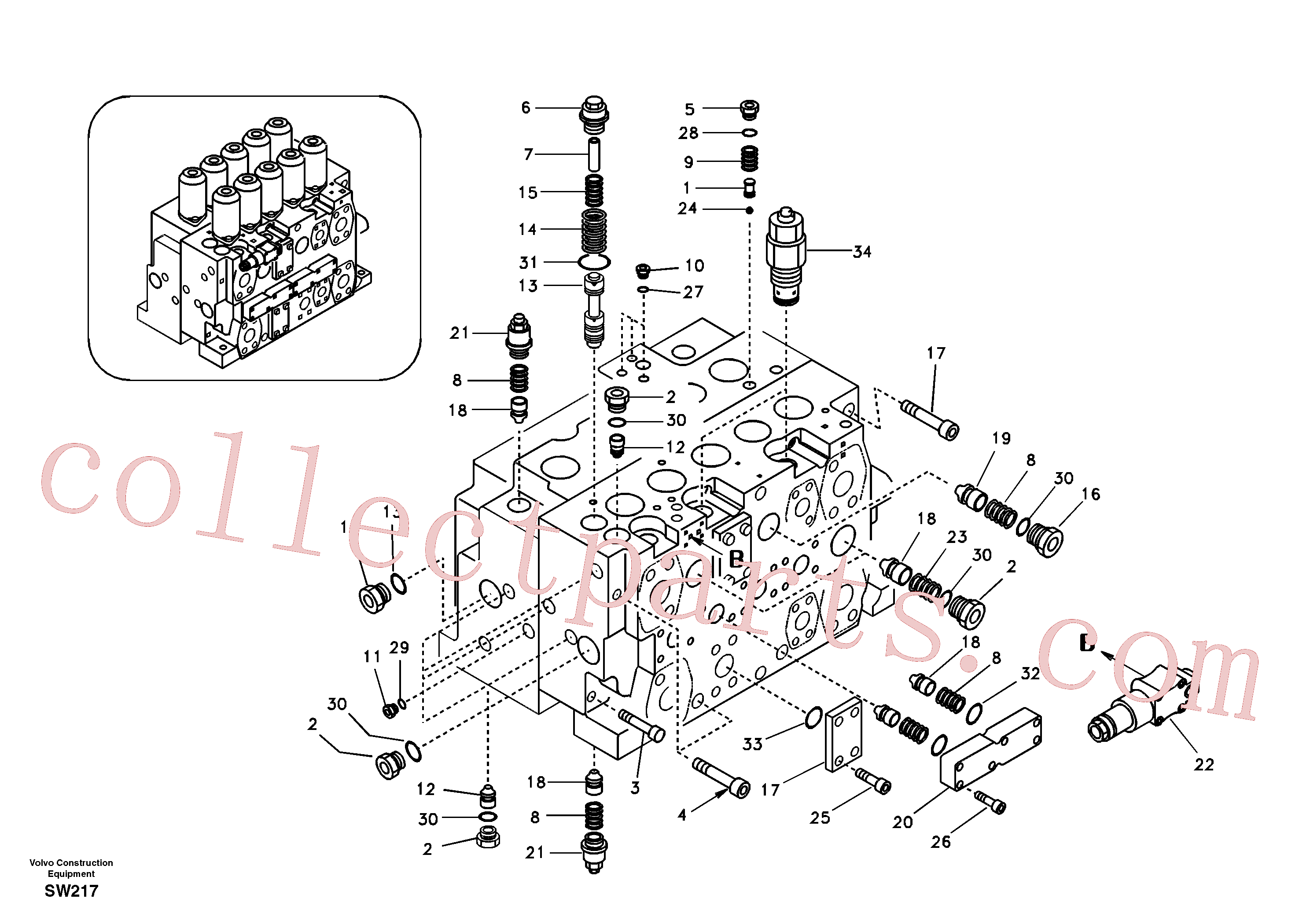 SA8230-36620 for Volvo Main control valve, relief valve and dipper arm holding(SW217 assembly)